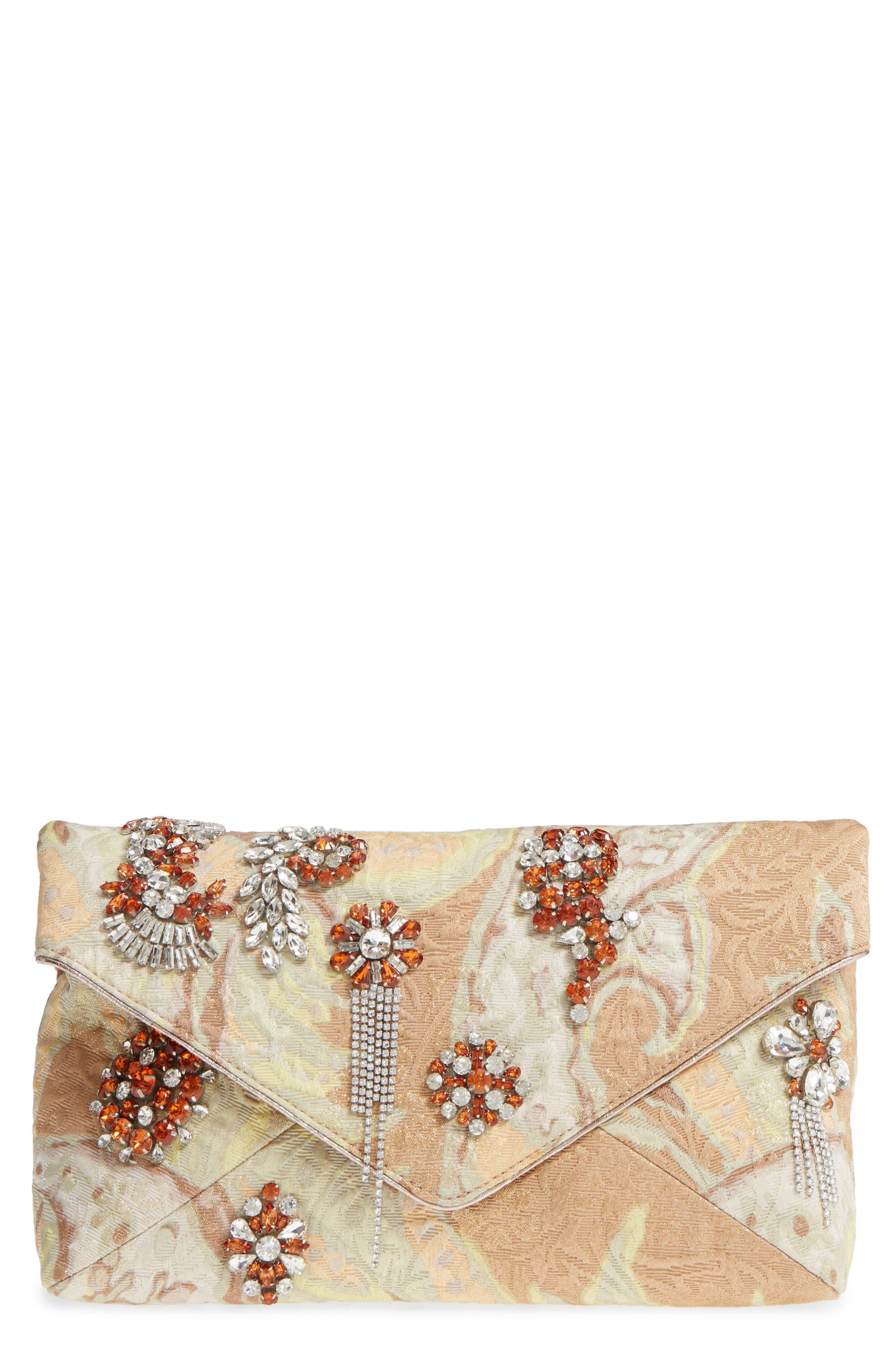 Crystal Embellished Brocade Envelope Clutch,                             Main thumbnail 1, color,                             NATURAL
