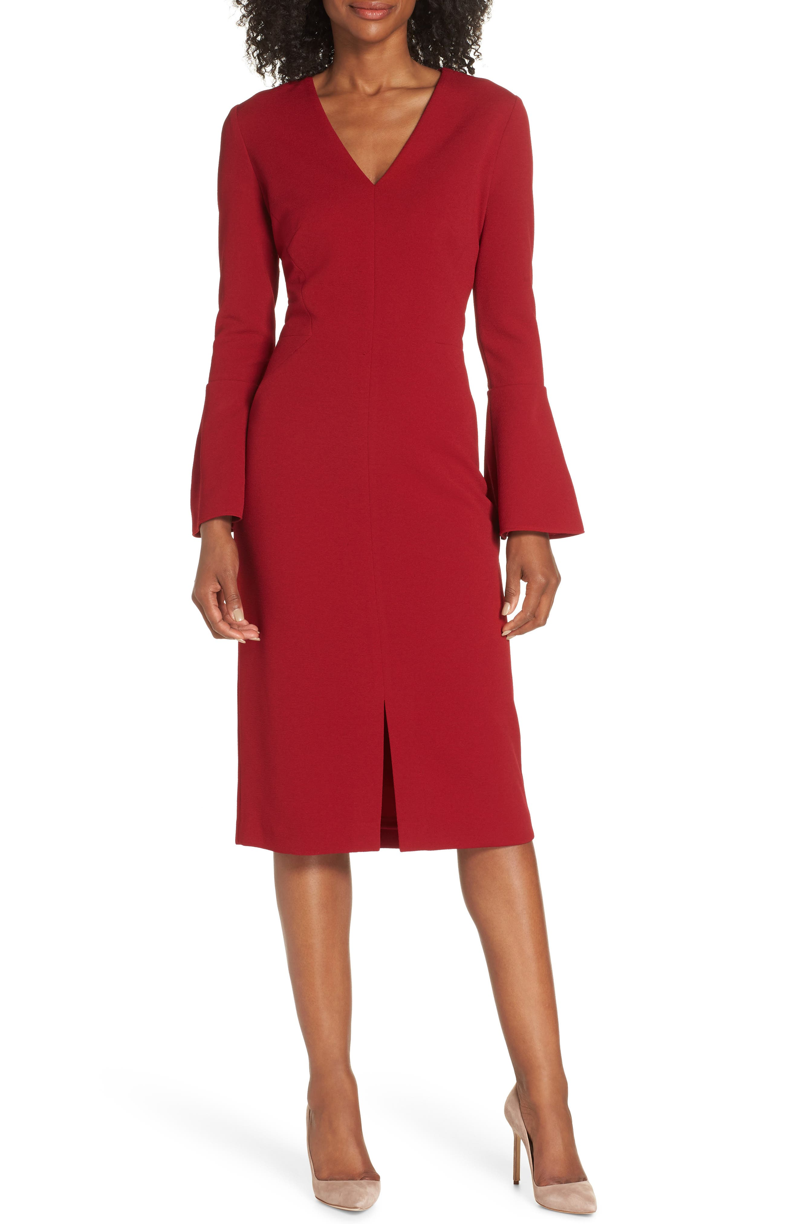 MAGGY LONDON Metro Knit Sheath Dress in Red