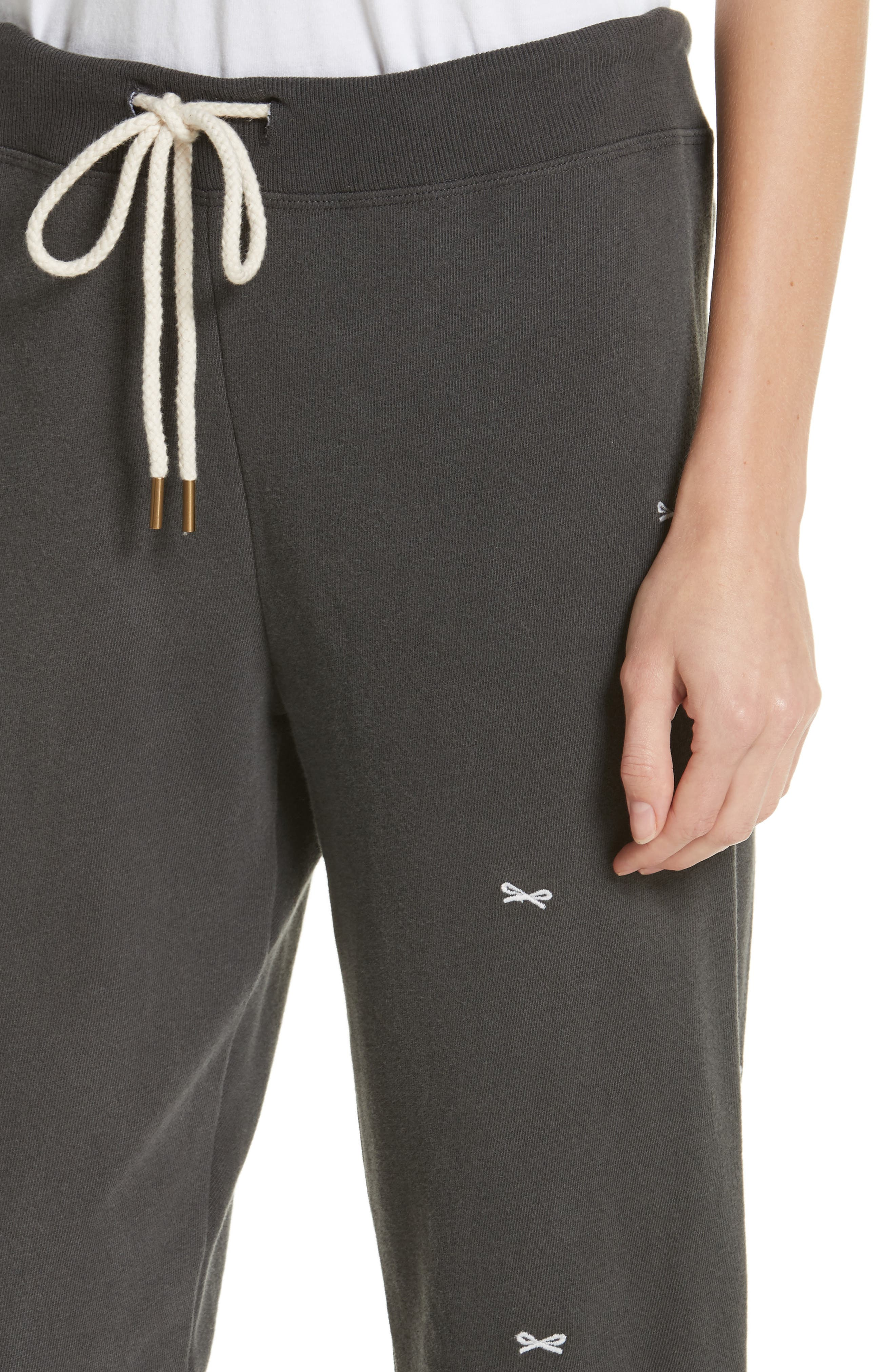 The Cropped Sweatpants,                             Alternate thumbnail 4, color,                             WASHED BLACK/ WHITE