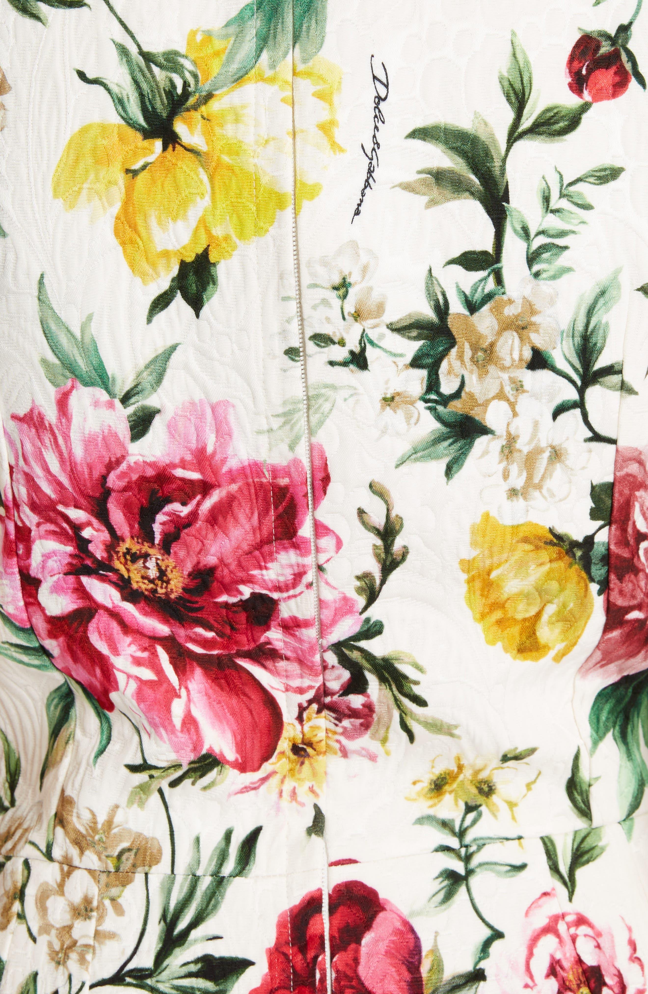 Floral Print Jacquard Sheath Dress,                             Alternate thumbnail 5, color,                             115