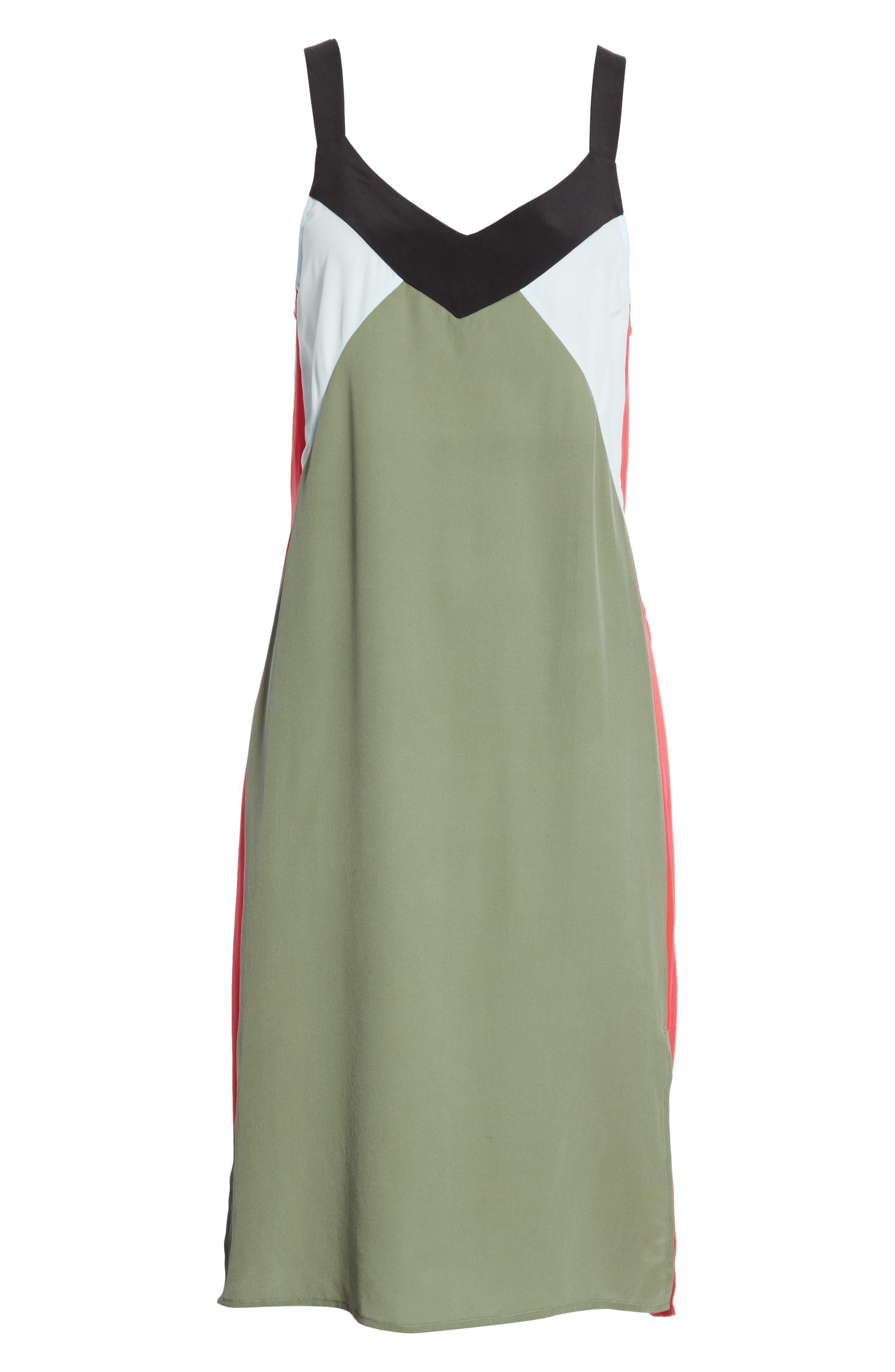 Robbi Colorblock Silk Slipdress,                             Alternate thumbnail 6, color,                             363