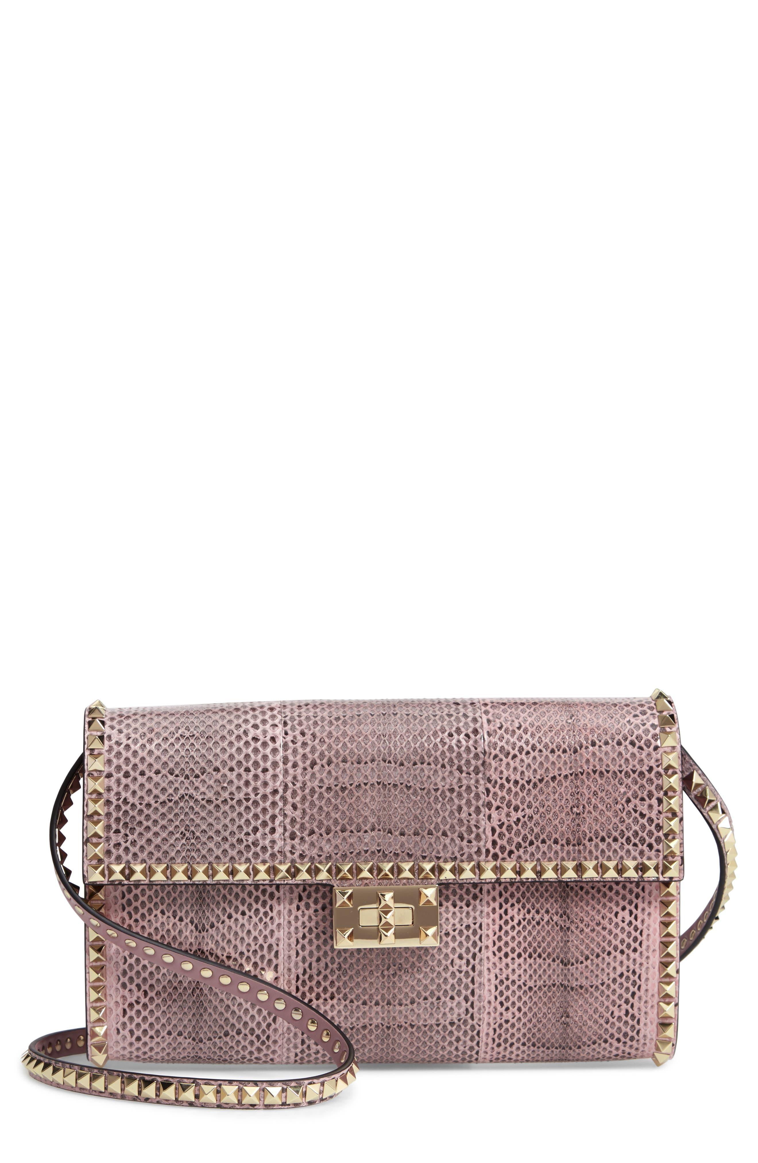 Ayers Rockstud Genuine Snakeskin & Leather Shoulder Bag,                         Main,                         color, LIP