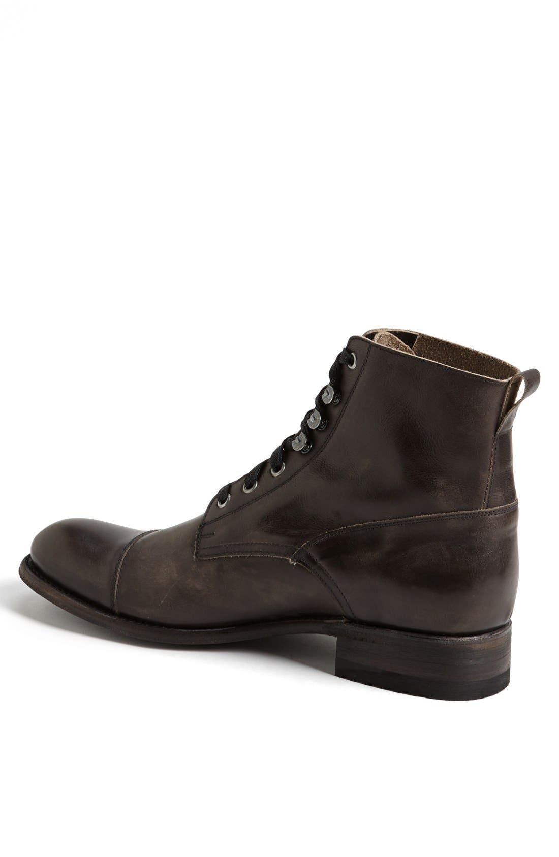 'Station' Cap Toe Boot,                             Alternate thumbnail 3, color,                             ANTRACITE LEATHER