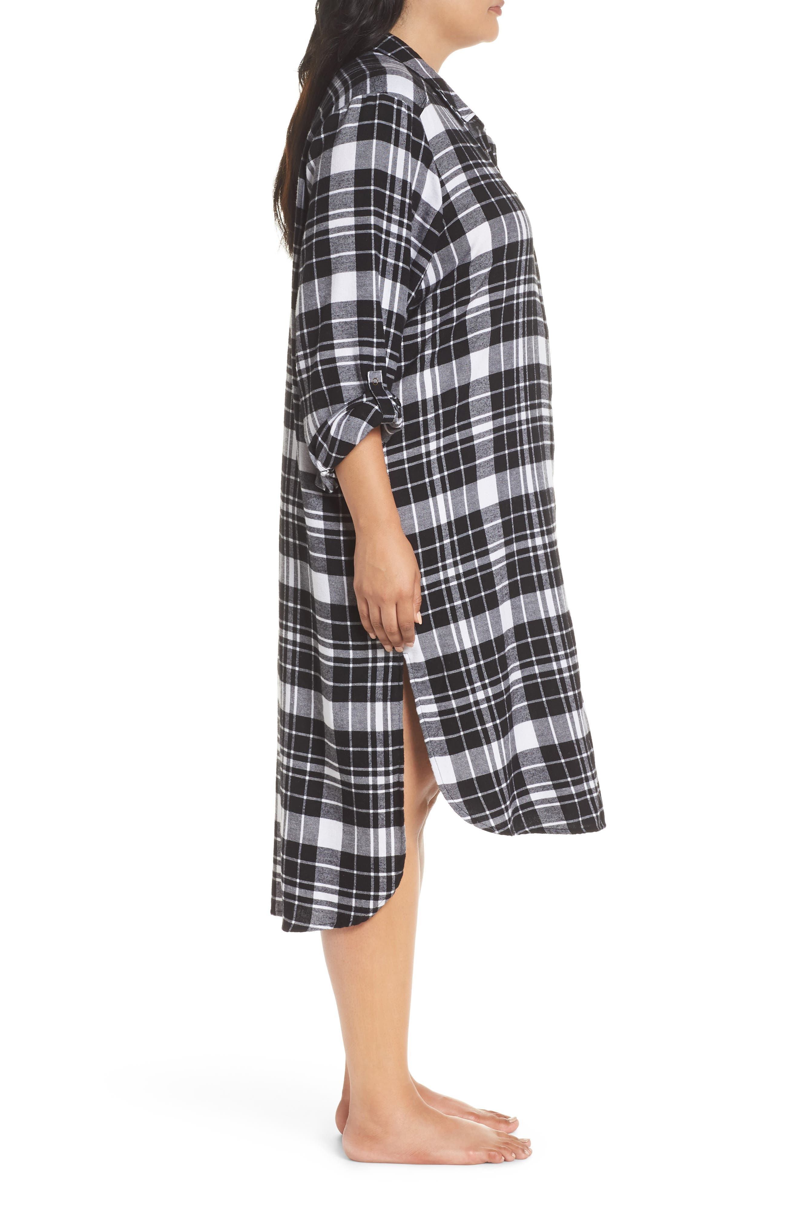 Long Flannel Nightshirt,                             Alternate thumbnail 3, color,                             001