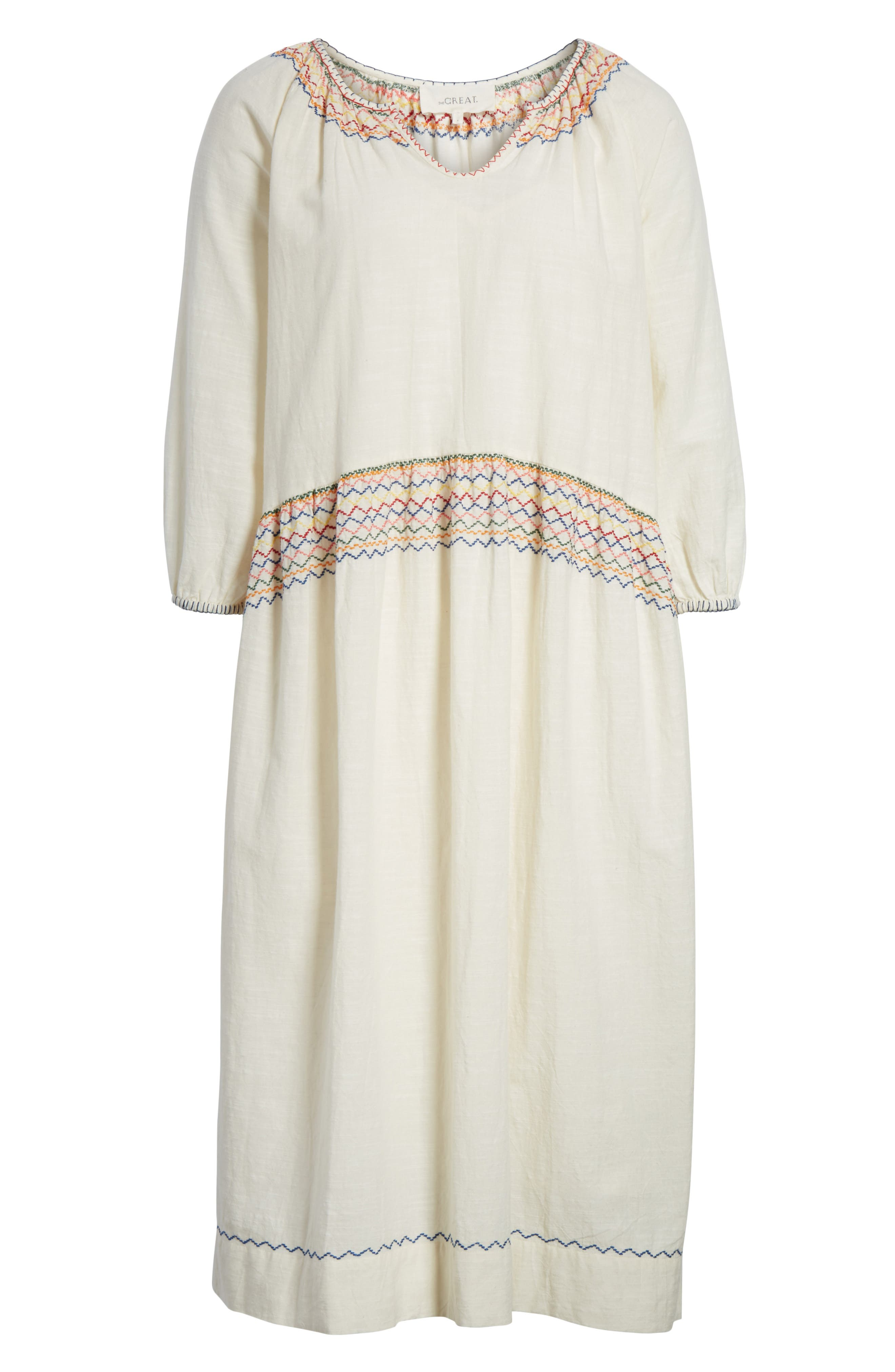 The Siesta Embroidered Dress,                             Alternate thumbnail 6, color,                             100