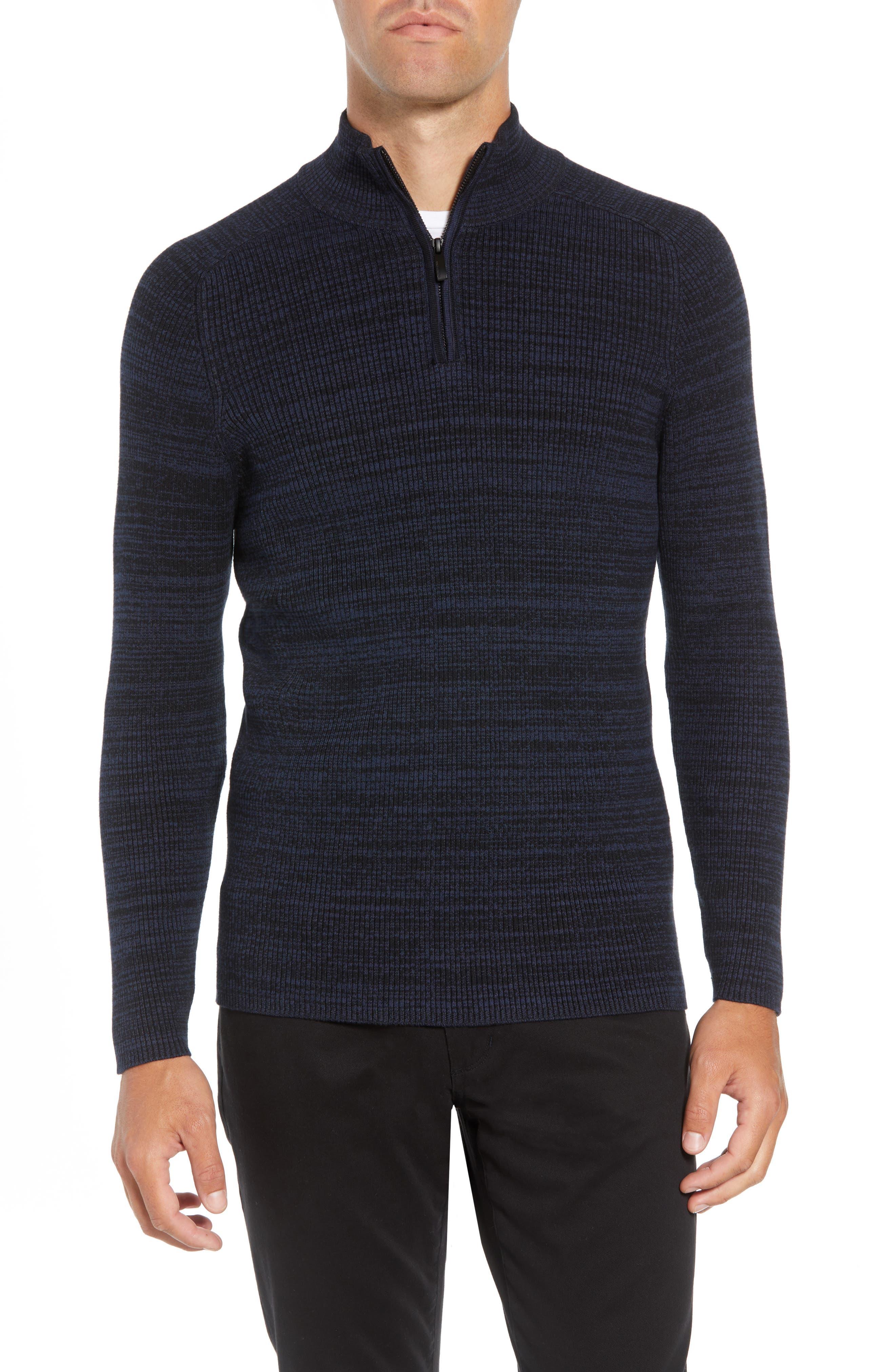 Vince Caumto Quarter Zip Mock Neck Sweater, Blue