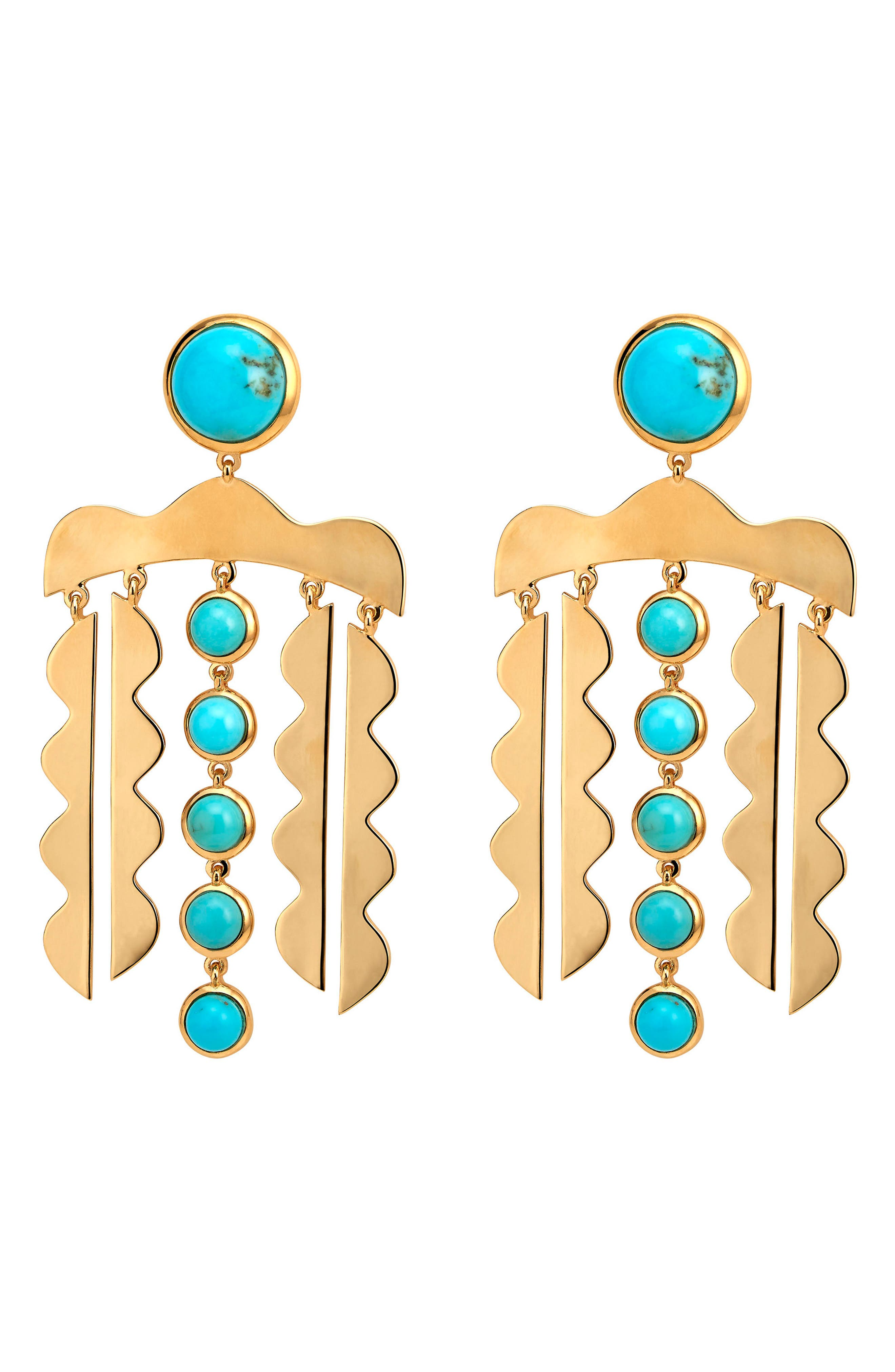 Mustique Chandelier Drop Earrings,                             Main thumbnail 1, color,                             TURQUOISE/ GOLD
