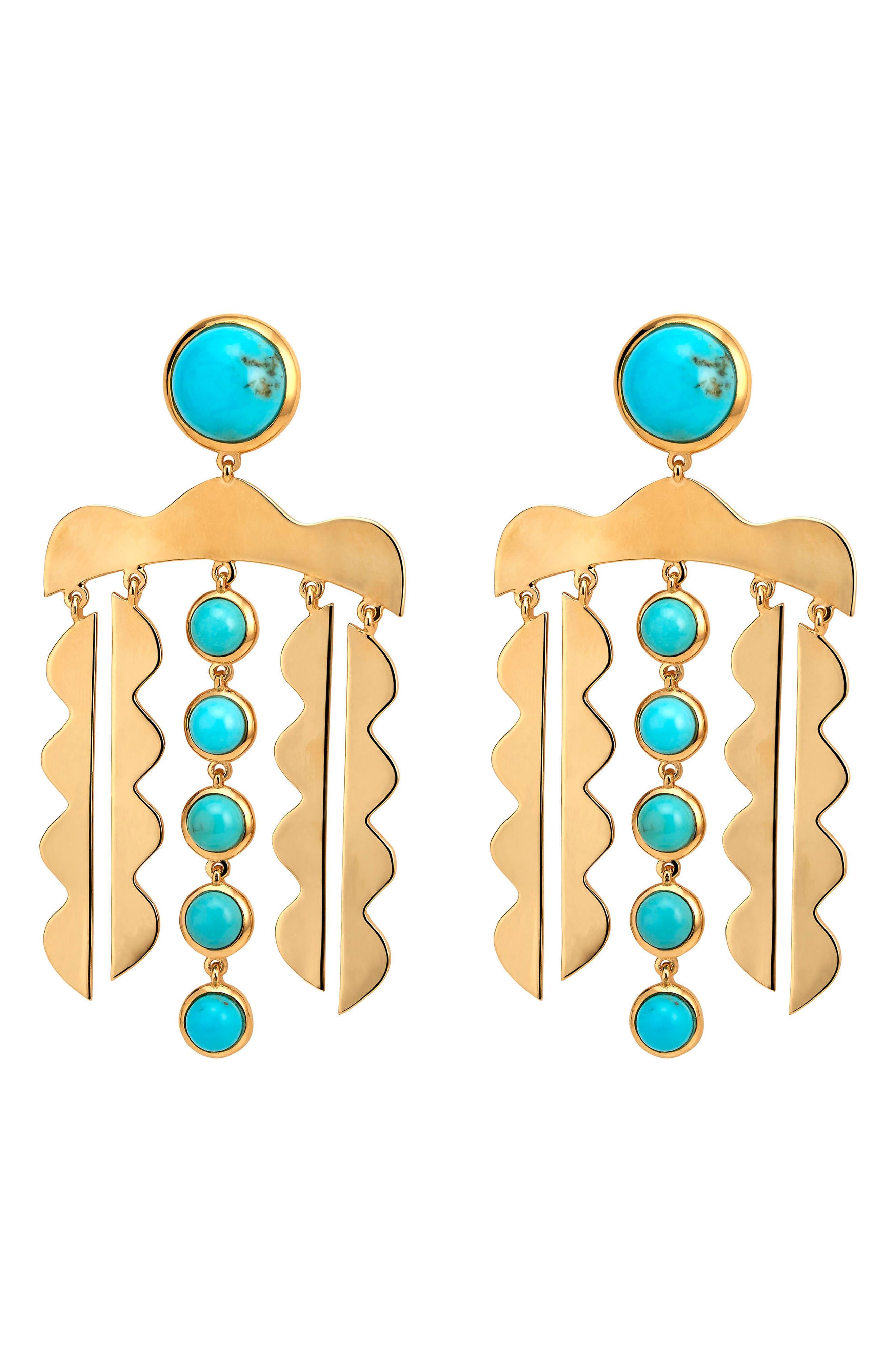 Mustique Chandelier Drop Earrings,                         Main,                         color, TURQUOISE/ GOLD