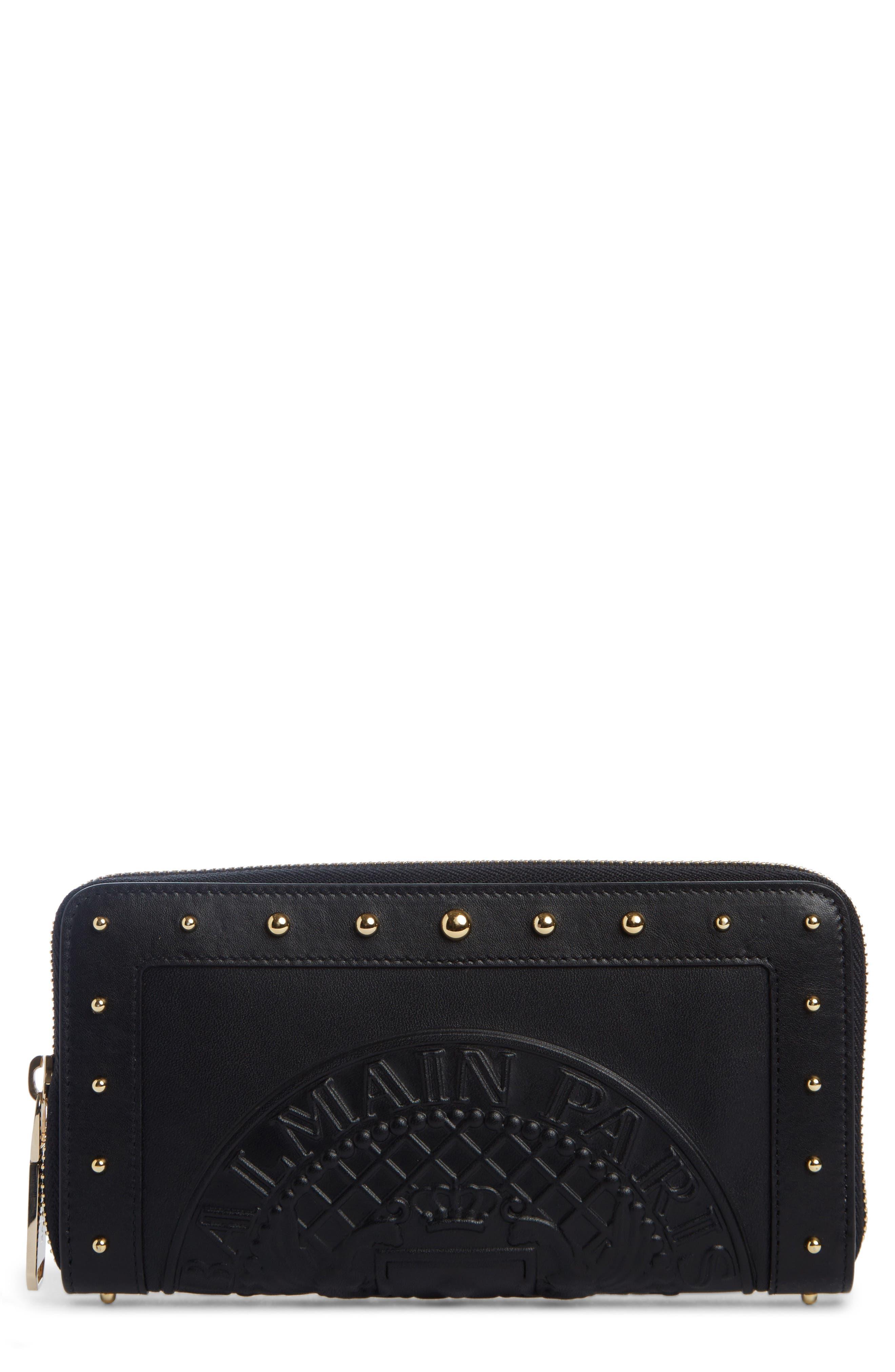 Renaissance Leather Continental Wallet,                             Main thumbnail 1, color,                             NOIR