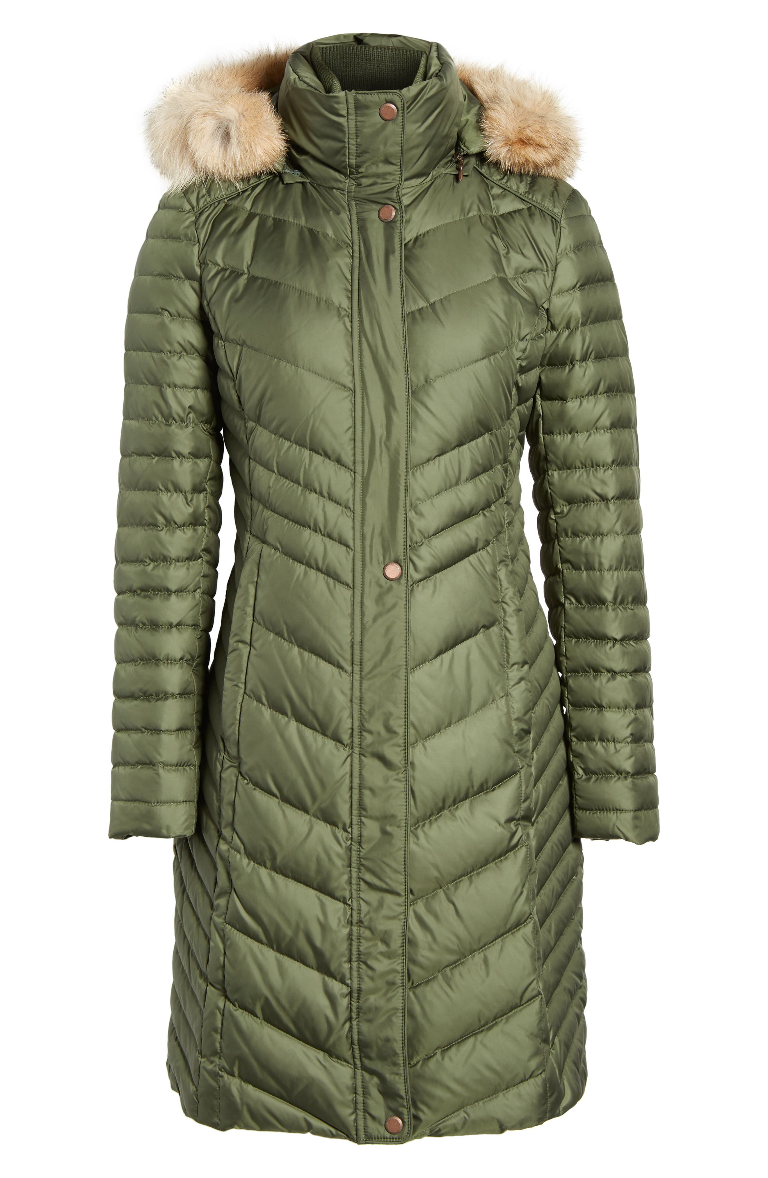 Chevron Quilted Coat with Genuine Coyote Fur Trim,                             Alternate thumbnail 14, color,
