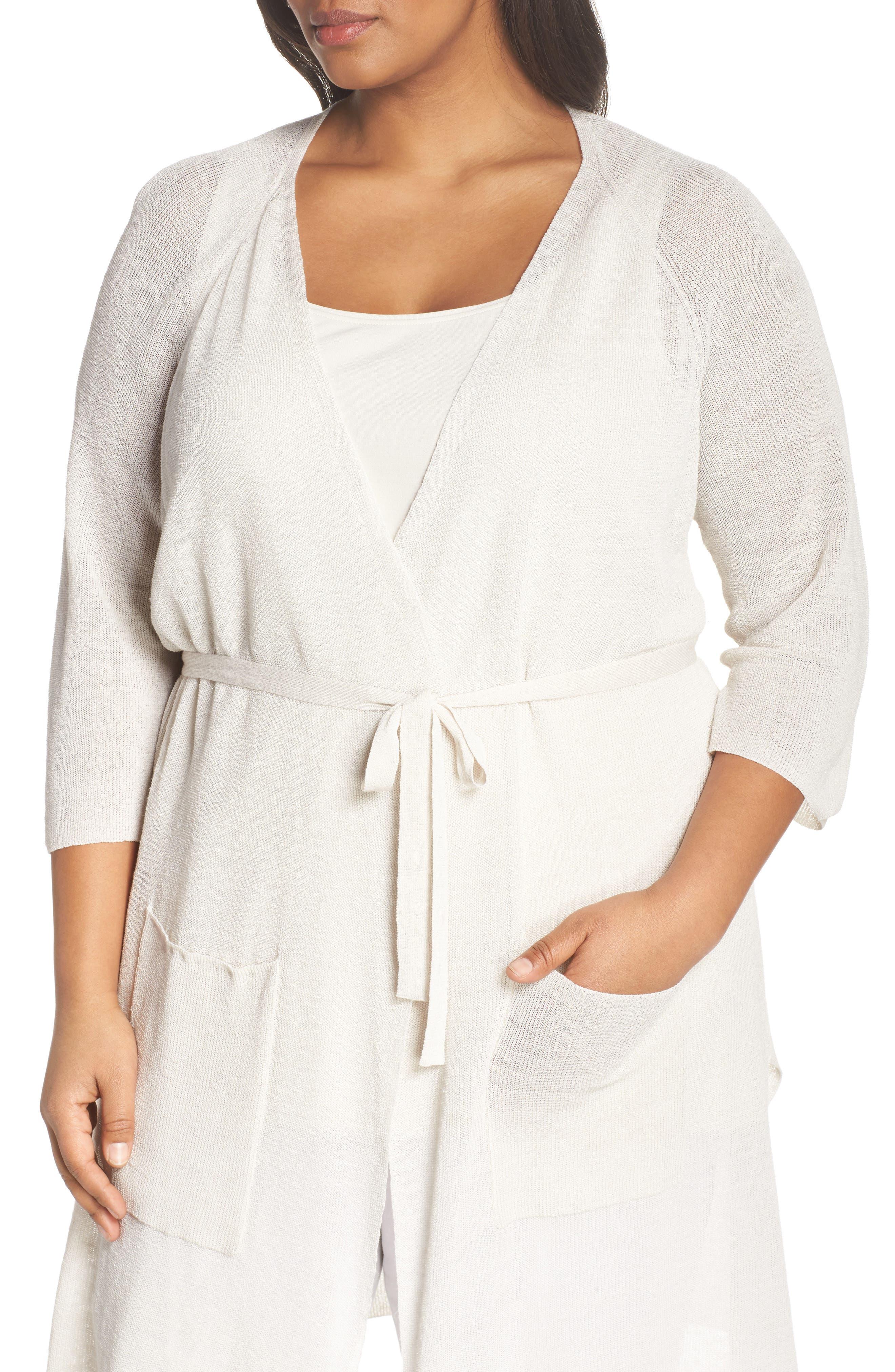 Long Organic Linen Blend Kimono Cardigan,                             Alternate thumbnail 12, color,