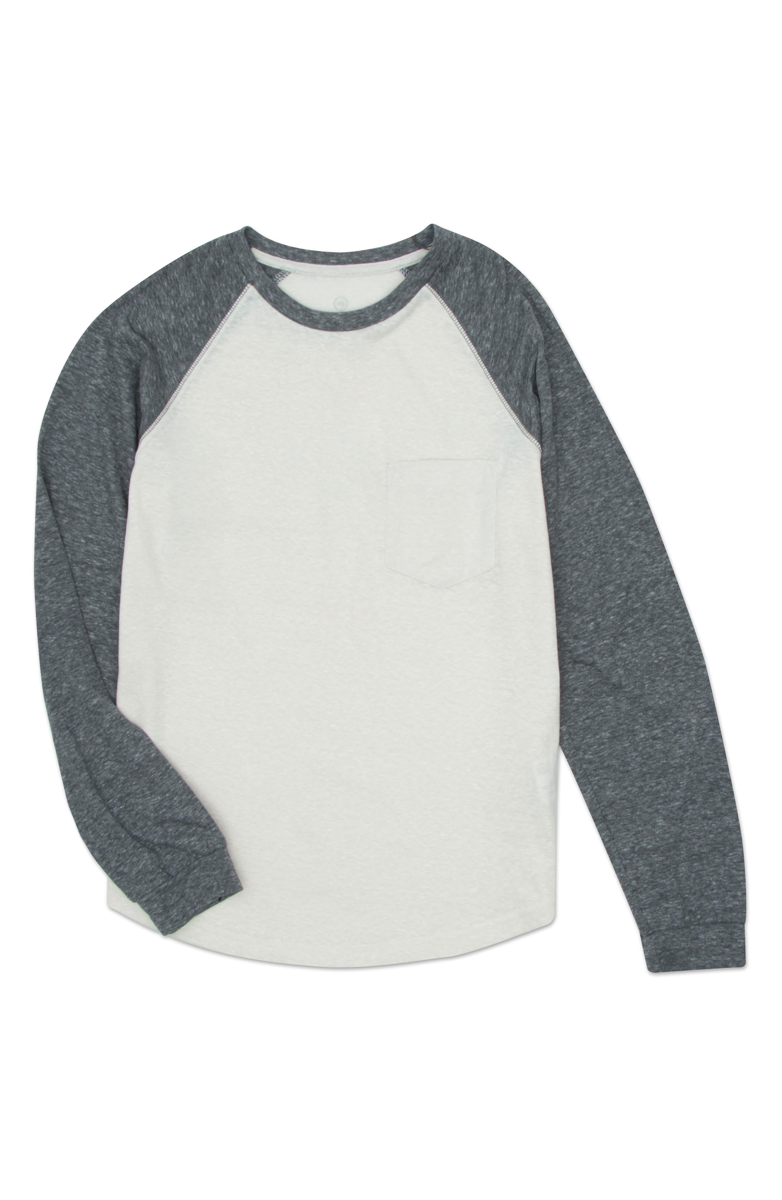 Raglan Baseball T-Shirt,                         Main,                         color, HEATHER WHITE