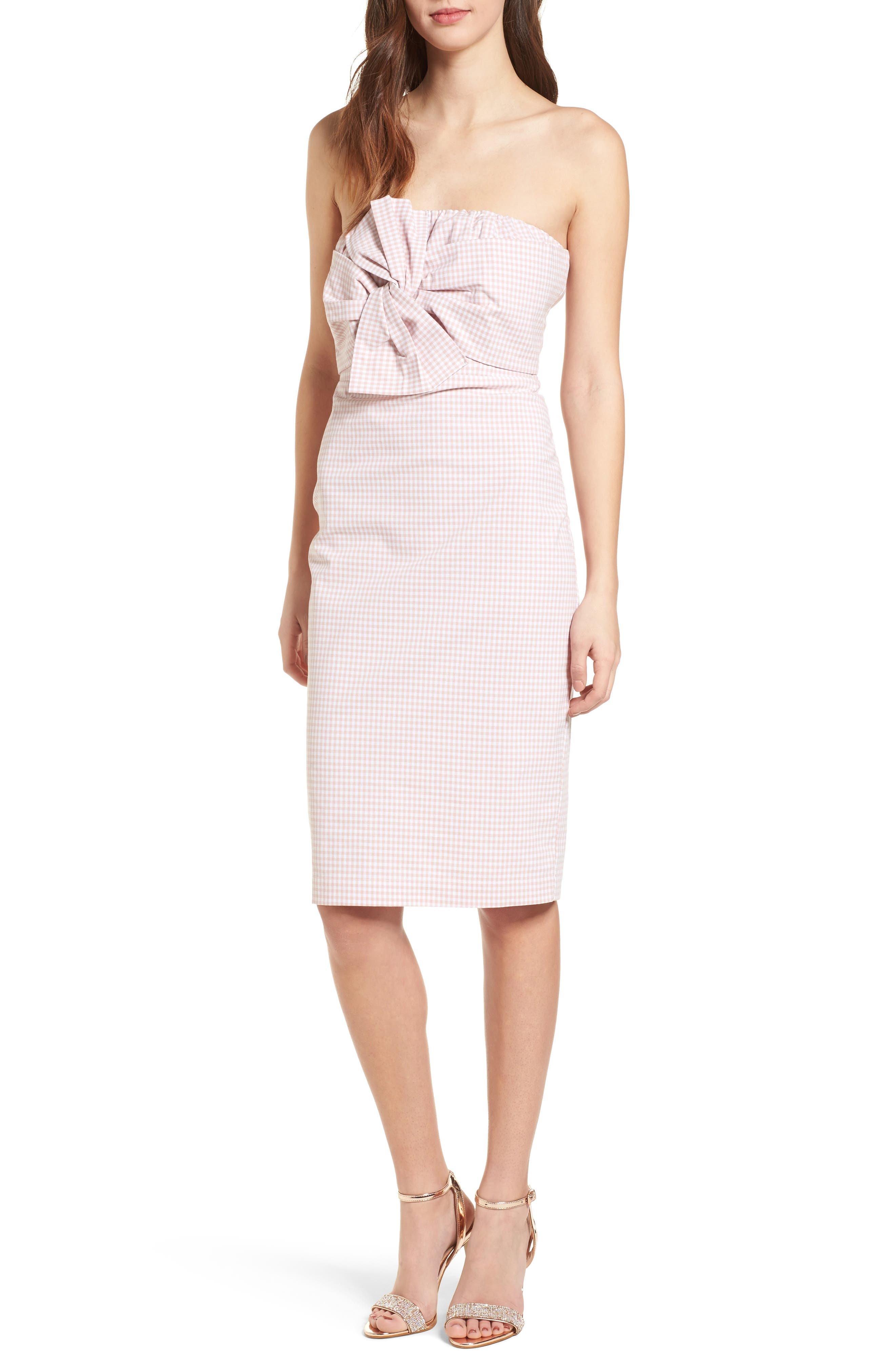 Strapless Gingham Dress,                             Main thumbnail 2, color,