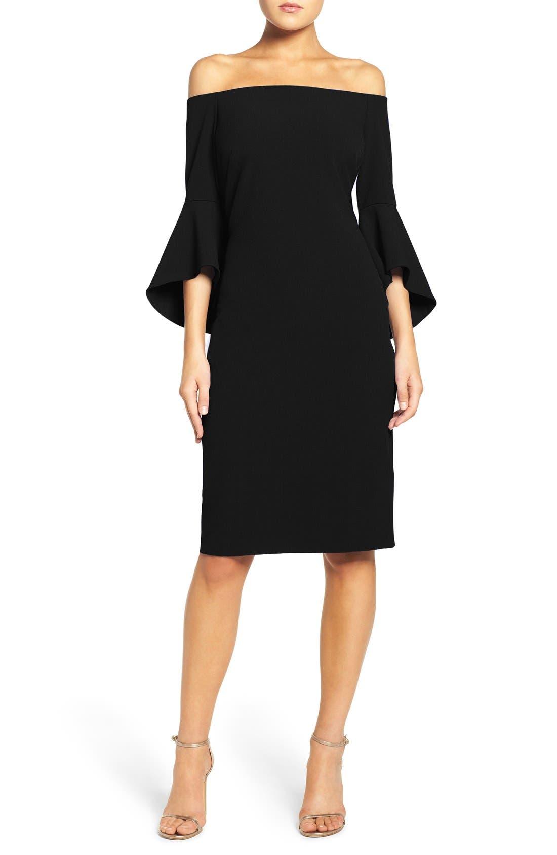 Off the Shoulder Dress,                             Main thumbnail 1, color,                             BLACK