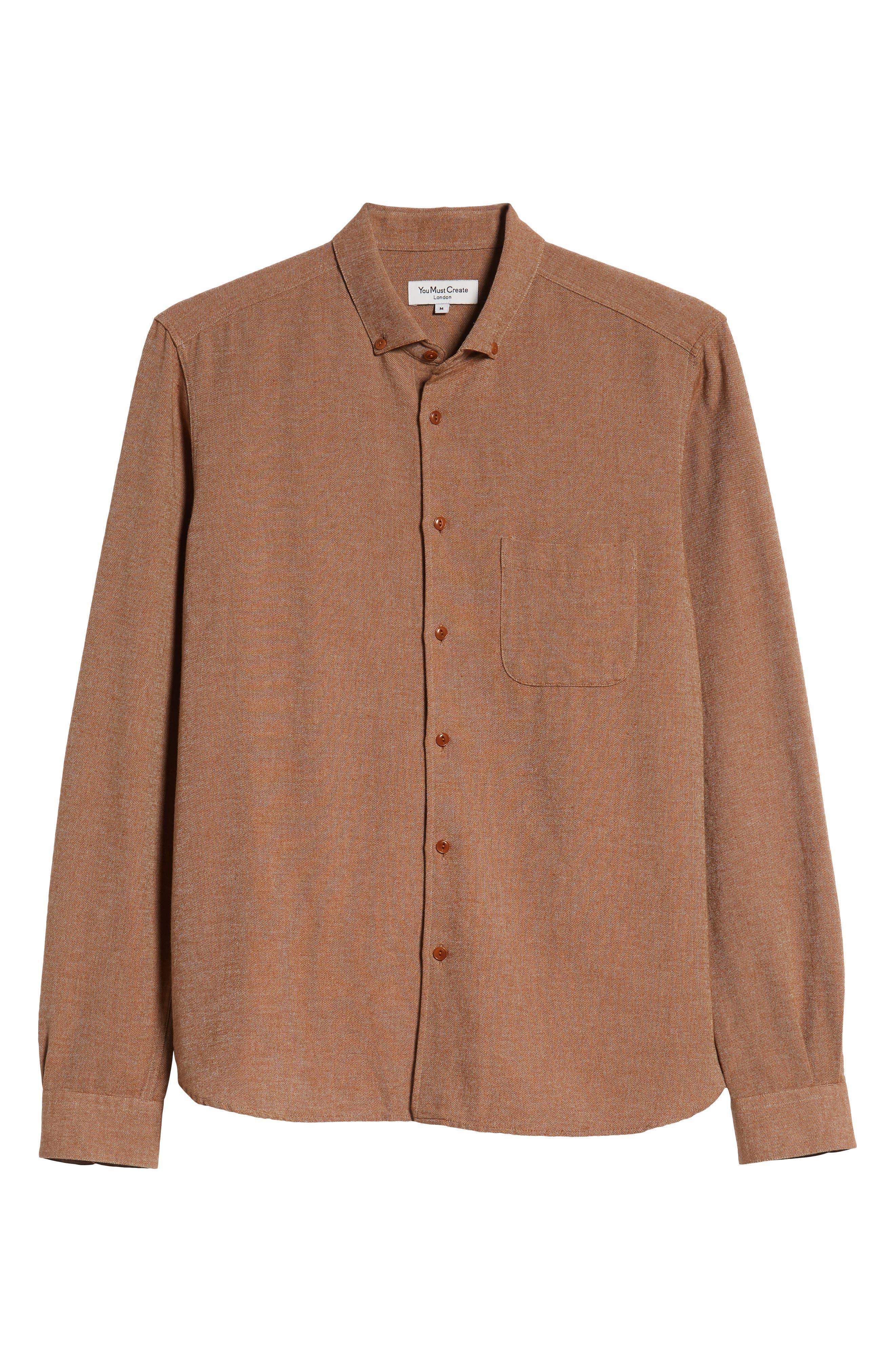 Dean Regular Fit Chambray Shirt,                             Alternate thumbnail 5, color,                             200