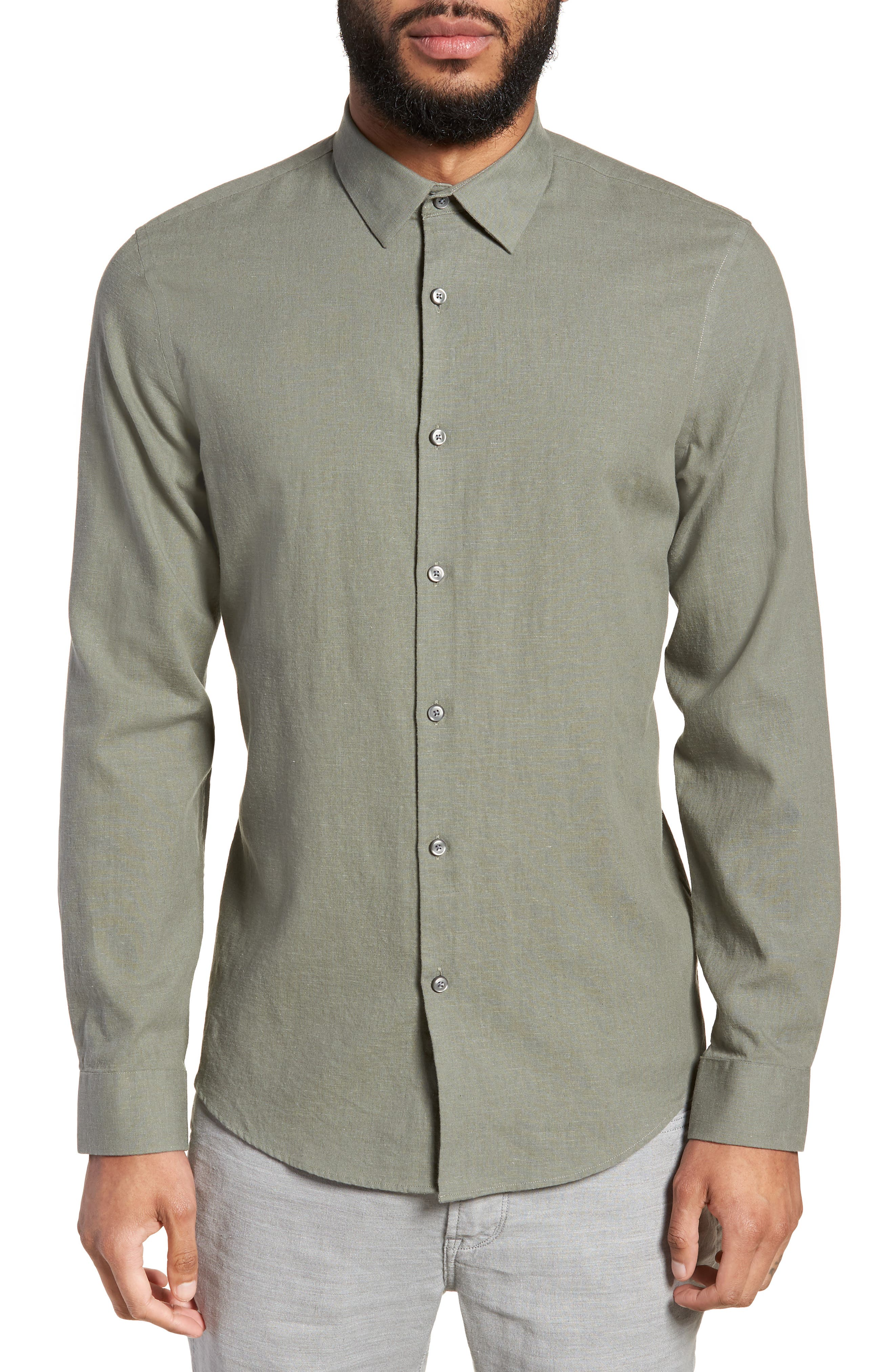 Linen Blend Sport Shirt,                         Main,                         color, 021