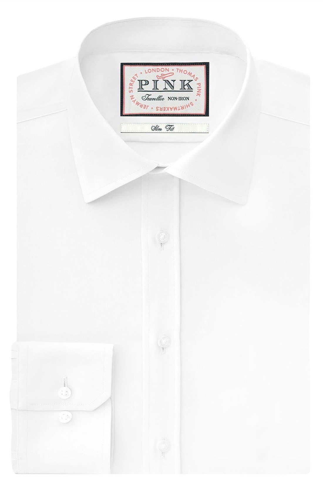 Slim Fit Dress Shirt,                             Alternate thumbnail 3, color,                             100