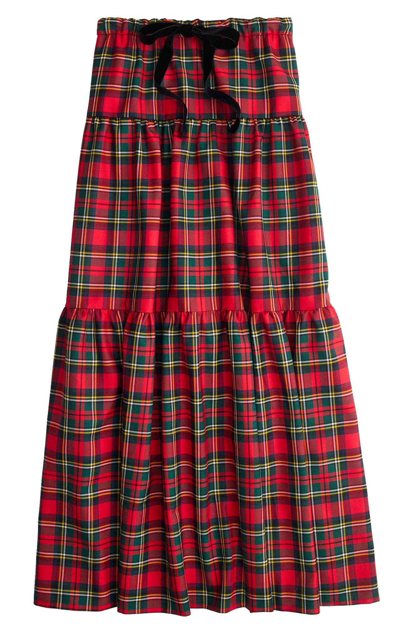 Tartan Plaid Tiered Maxi Skirt,                             Alternate thumbnail 3, color,                             600
