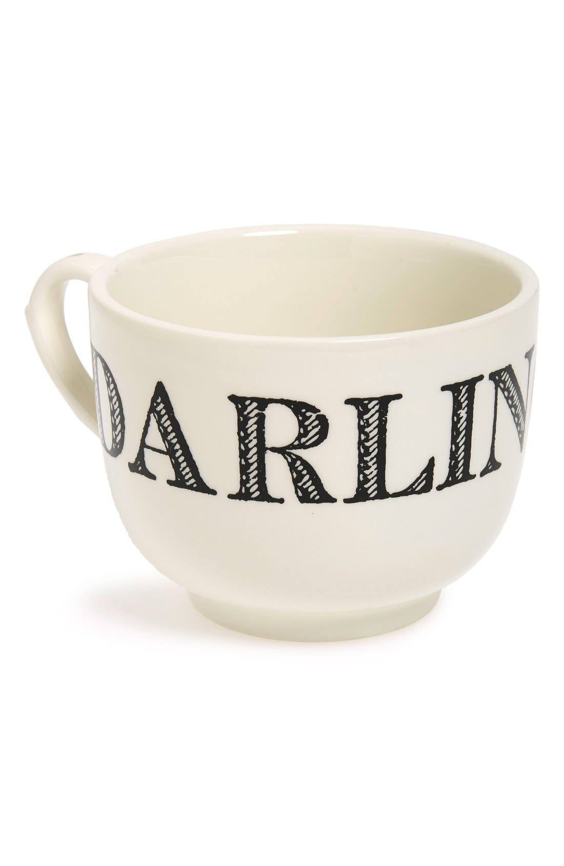 'Grand Cup - Darling' Porcelain Coffee Mug,                             Main thumbnail 1, color,                             TRUE BLACK/ MOSS