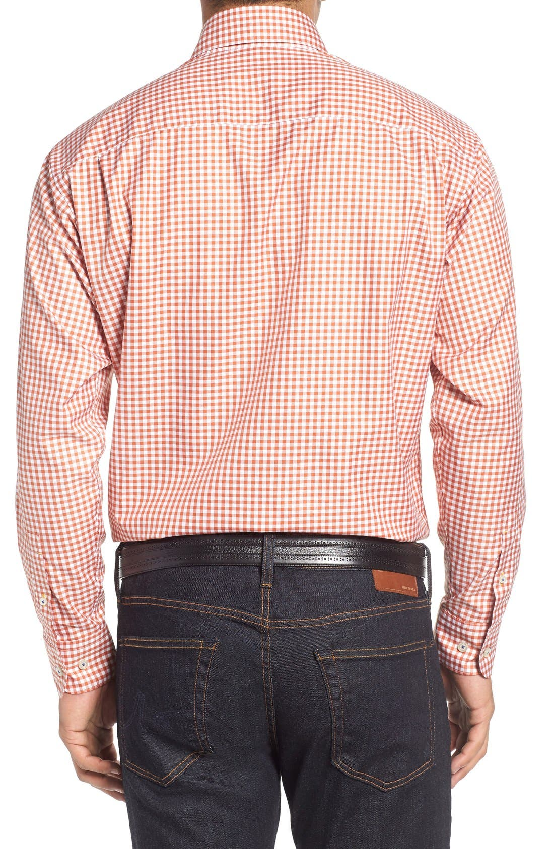 'Anderson' Classic Fit Gingham Sport Shirt,                             Alternate thumbnail 2, color,                             EMBER