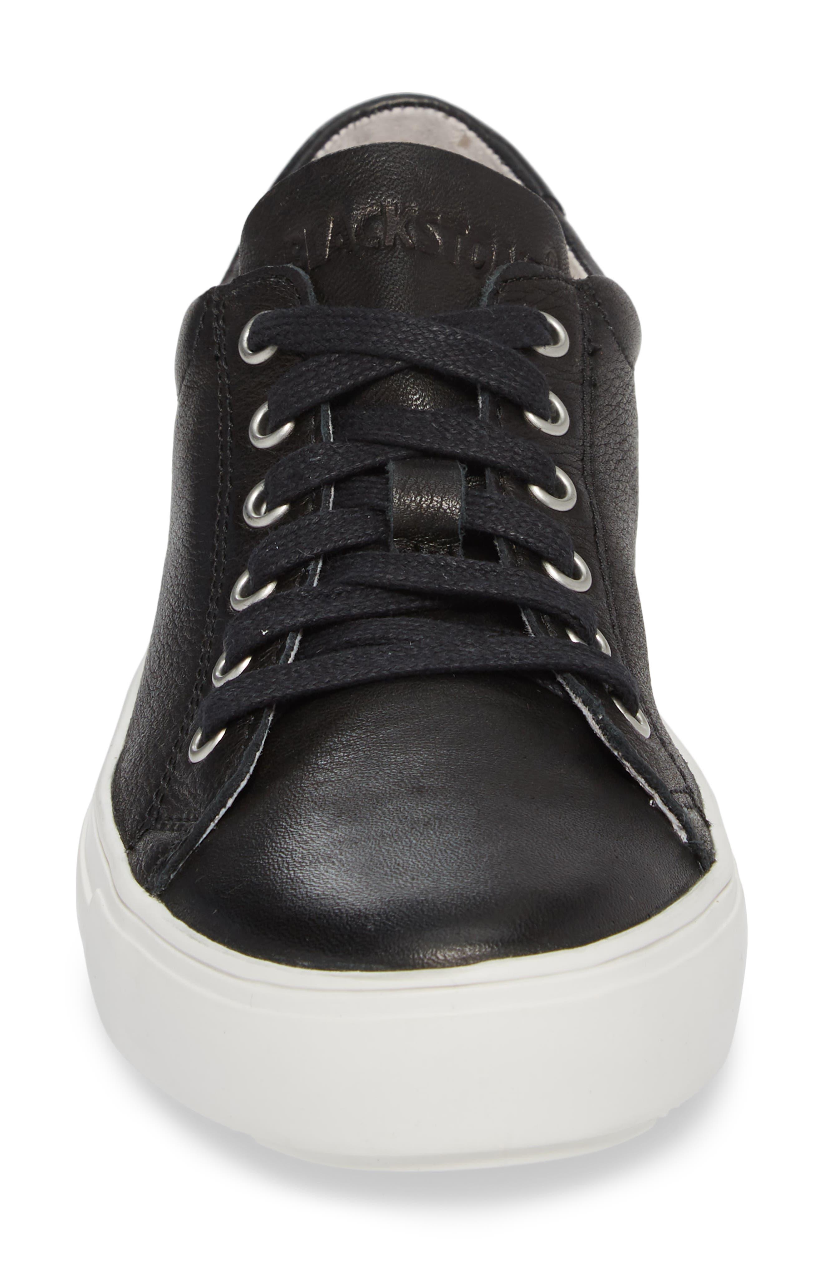PL71 Low Top Sneaker,                             Alternate thumbnail 4, color,                             BLACK LEATHER