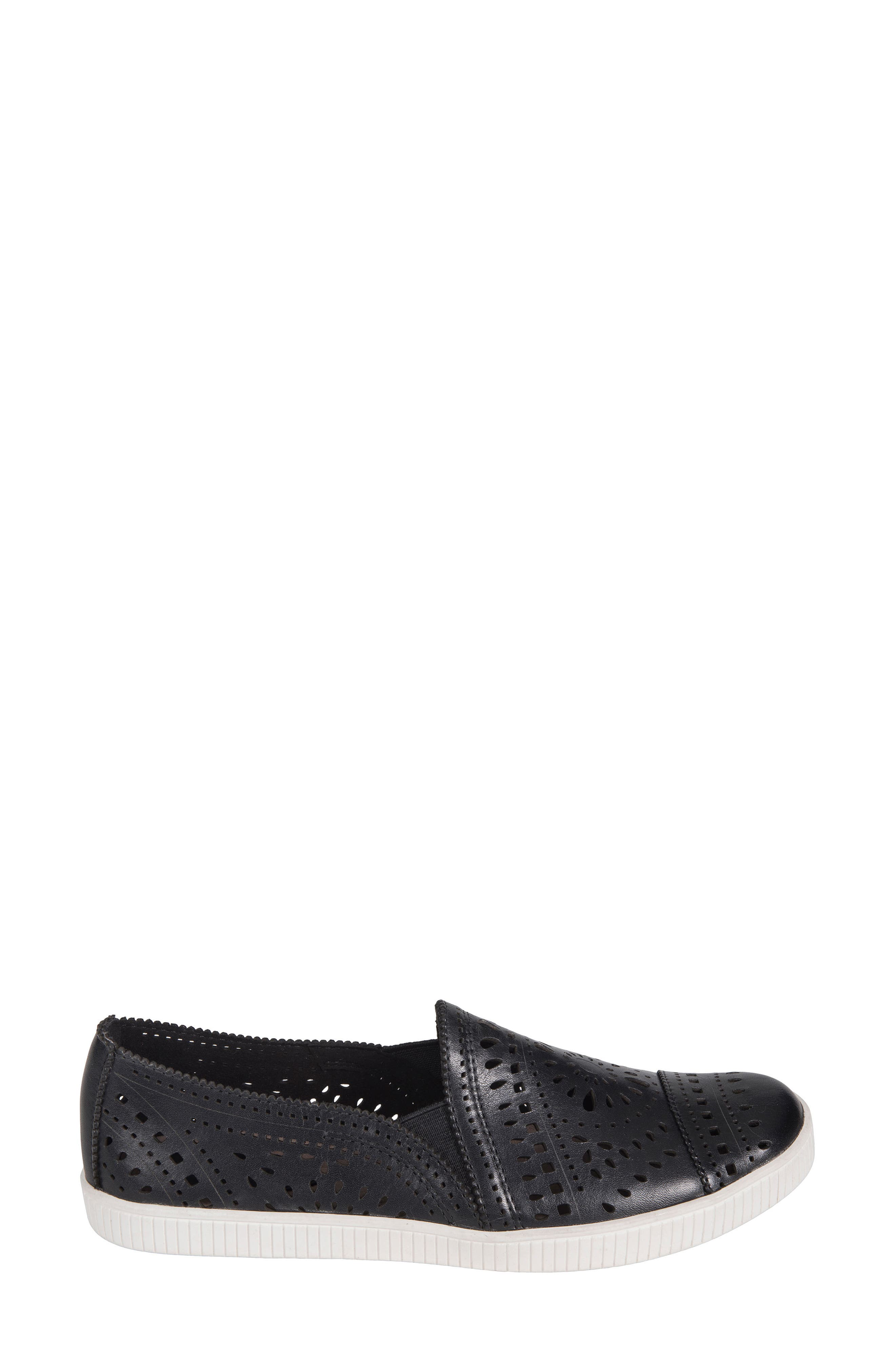 Tayberry Perforated Slip-On Sneaker,                             Alternate thumbnail 3, color,                             001