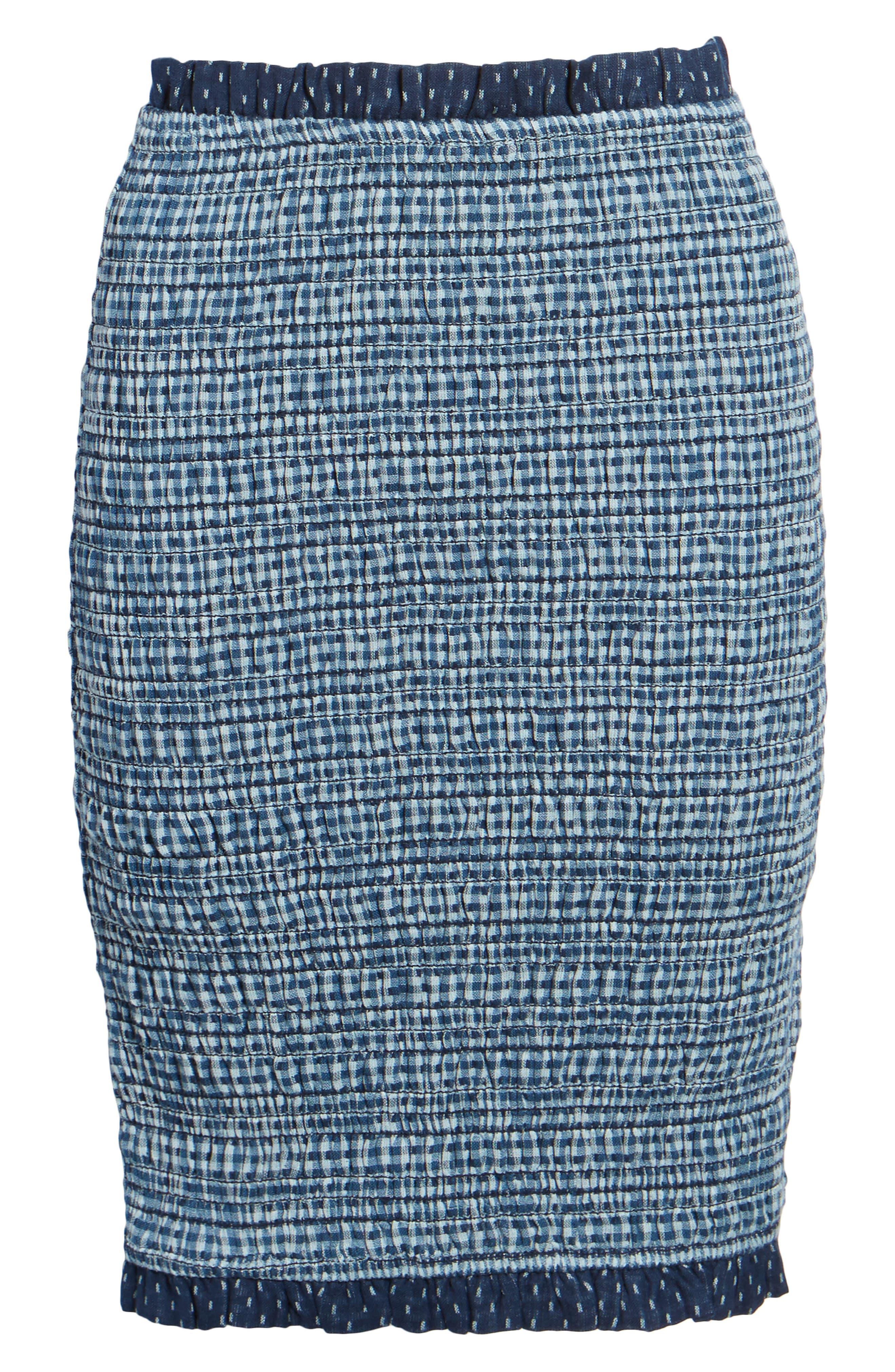 Kylie Smocked Skirt,                             Alternate thumbnail 6, color,                             001