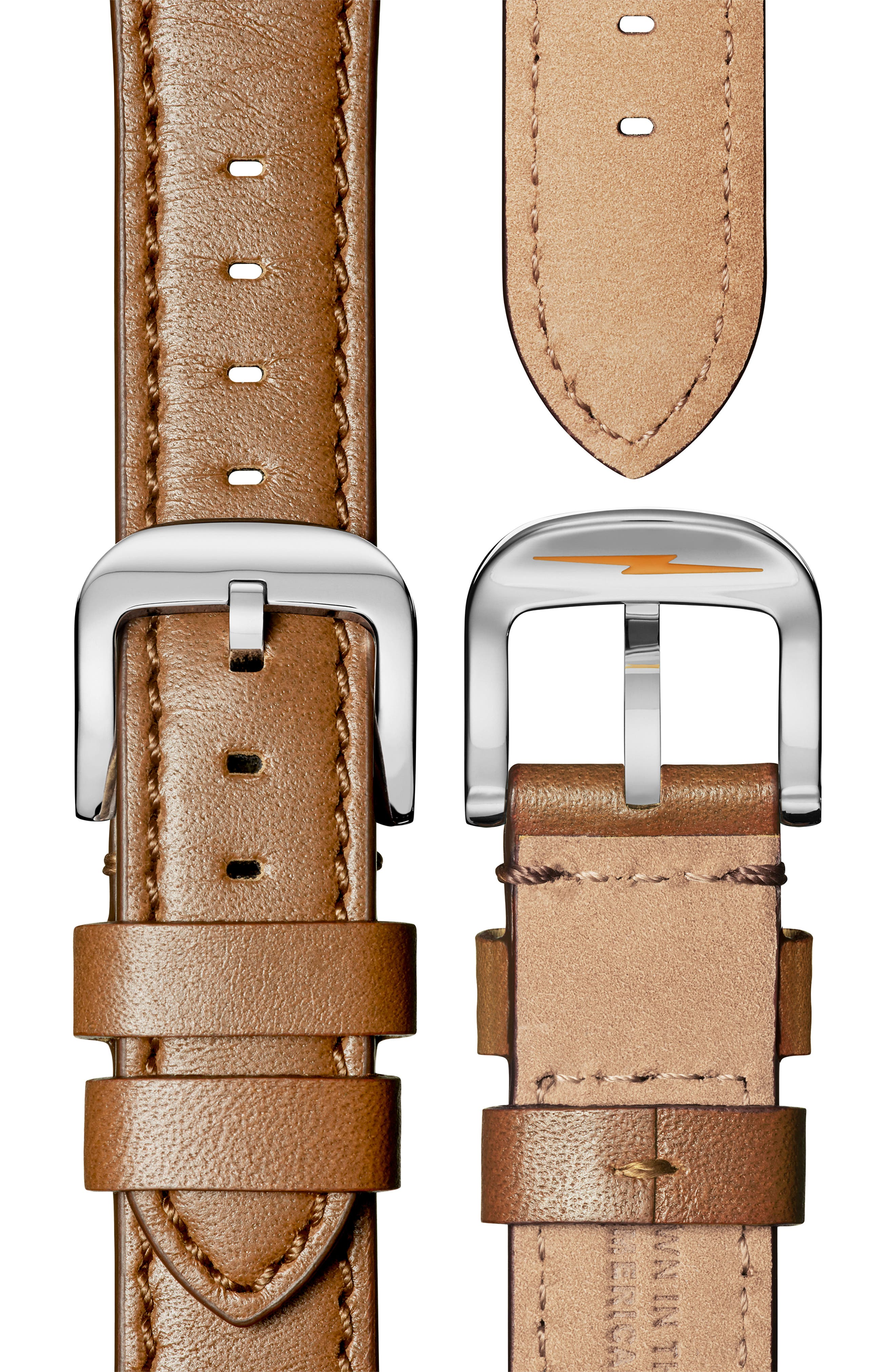 The Runwell - Statue of Liberty Leather Strap Watch, 41mm,                             Alternate thumbnail 4, color,                             BROWN/ GREY/ SILVER