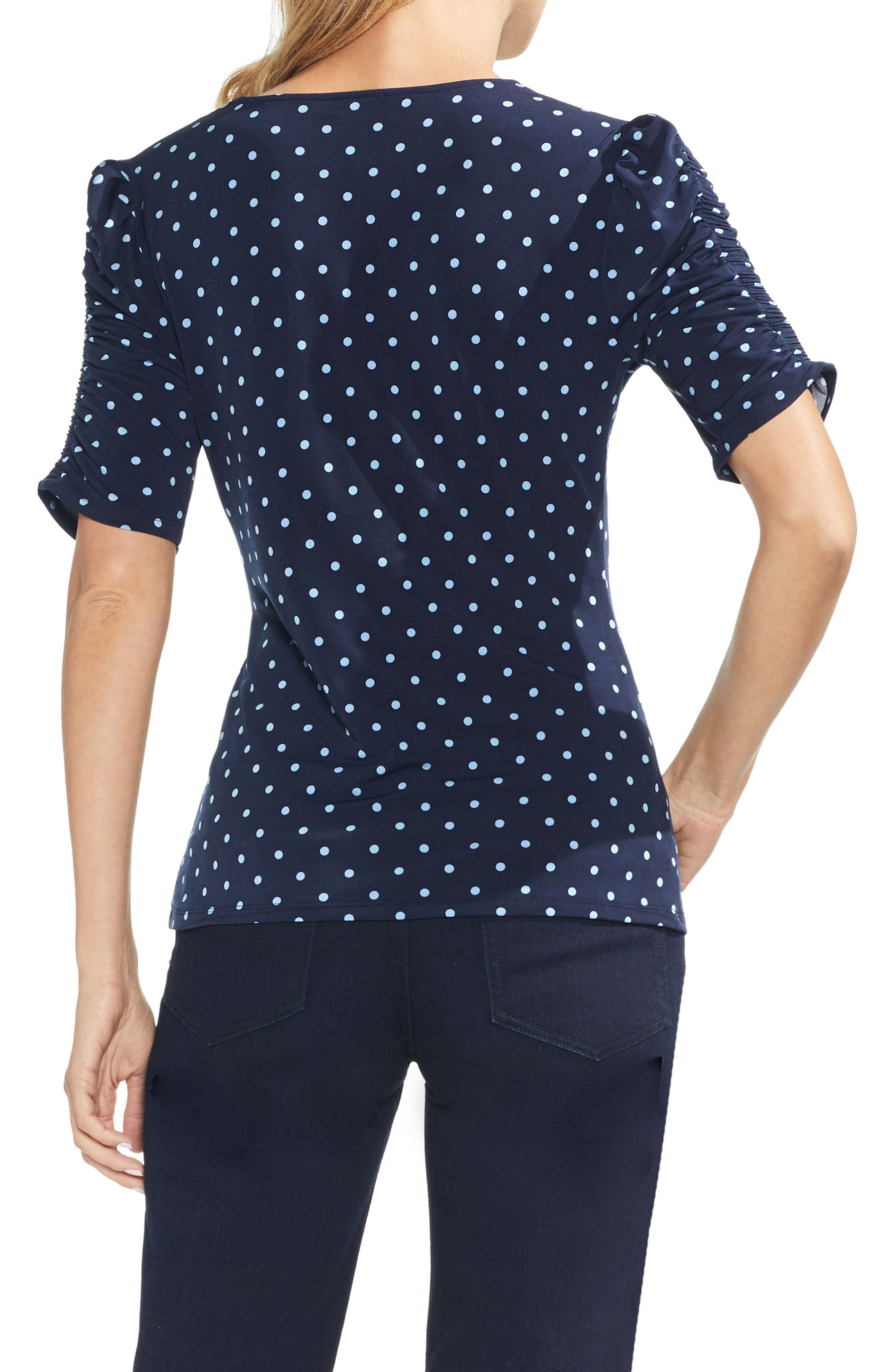 Romantic Dots Ruched Sleeve Top,                             Alternate thumbnail 2, color,                             407
