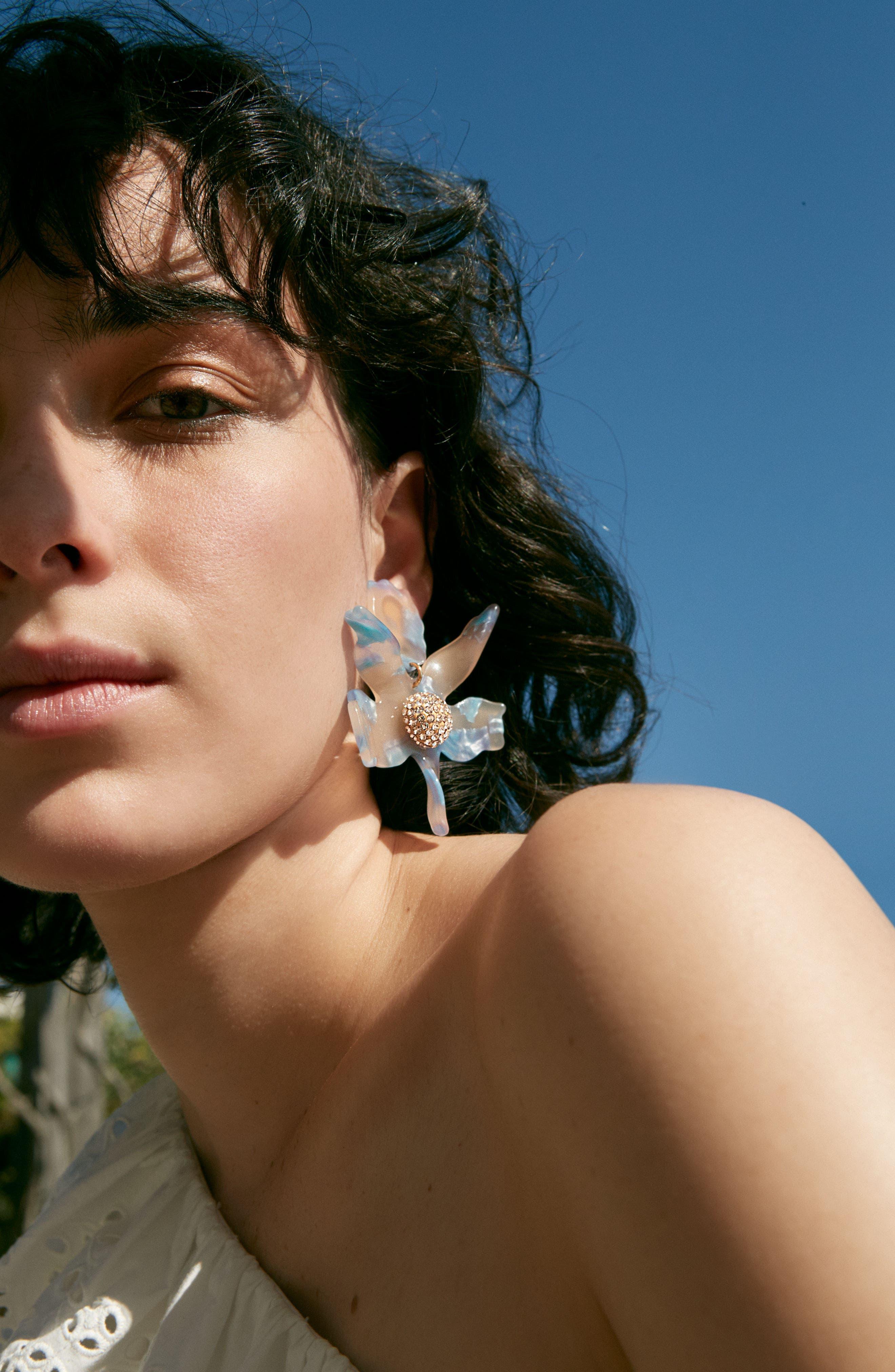 Crystal Drop Earrings,                             Alternate thumbnail 4, color,                             LAGOON BLUE
