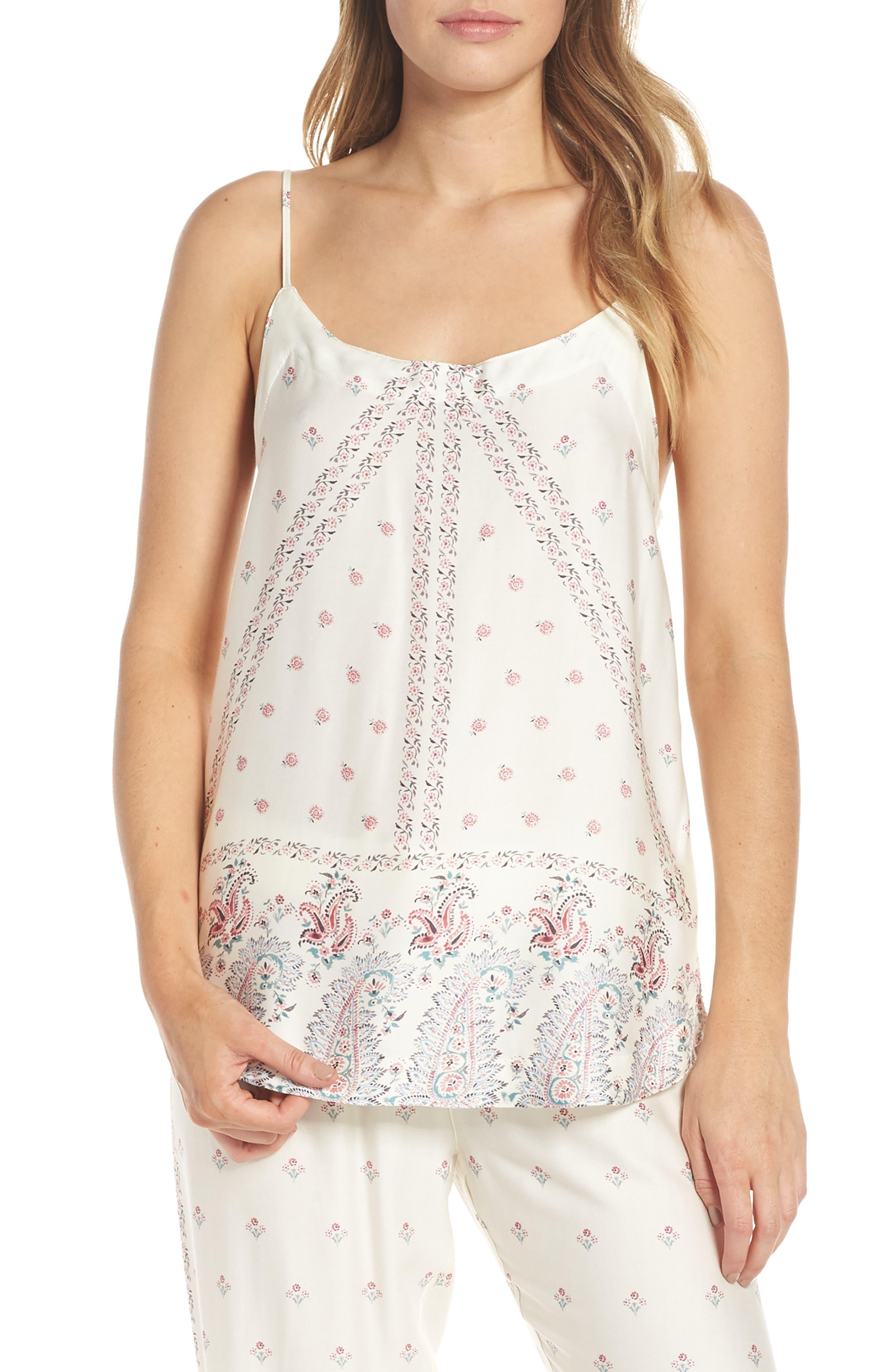 Paisley Park Pajama Camisole,                             Main thumbnail 1, color,                             ANTIQUE WHITE