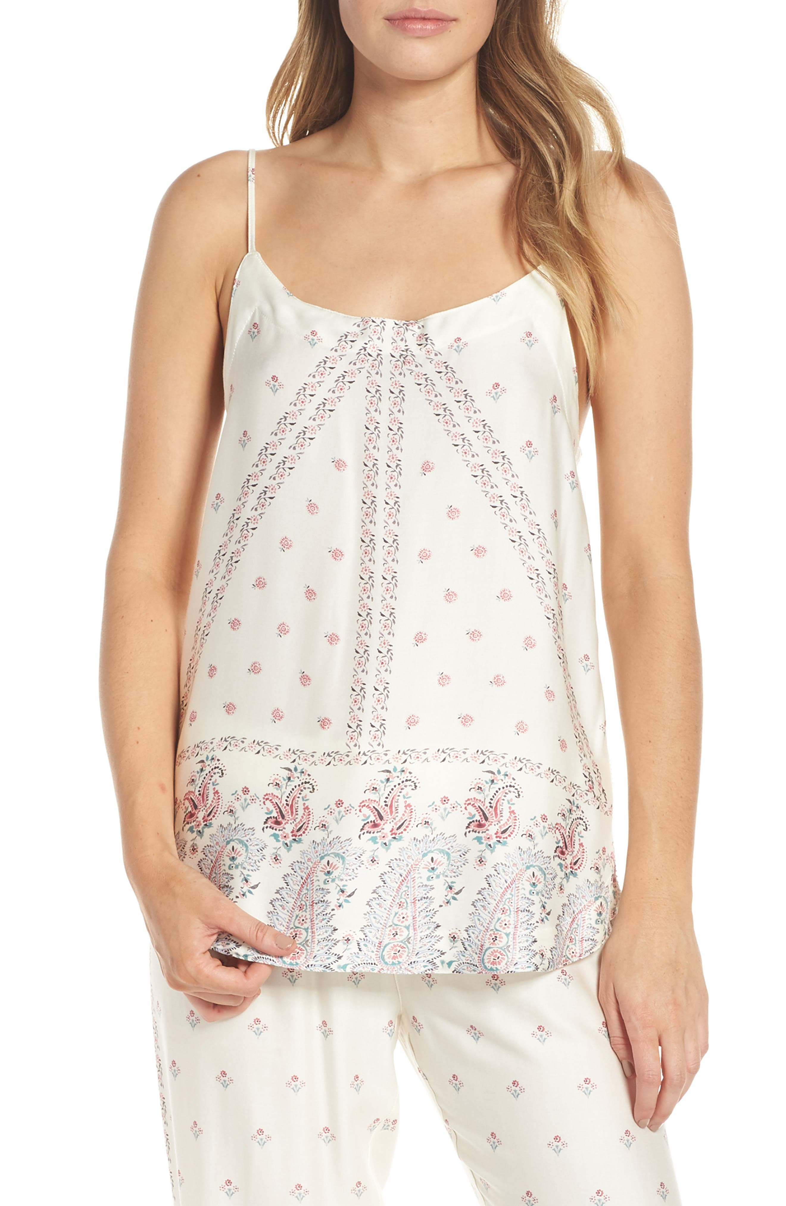 Paisley Park Pajama Camisole, Main, color, ANTIQUE WHITE