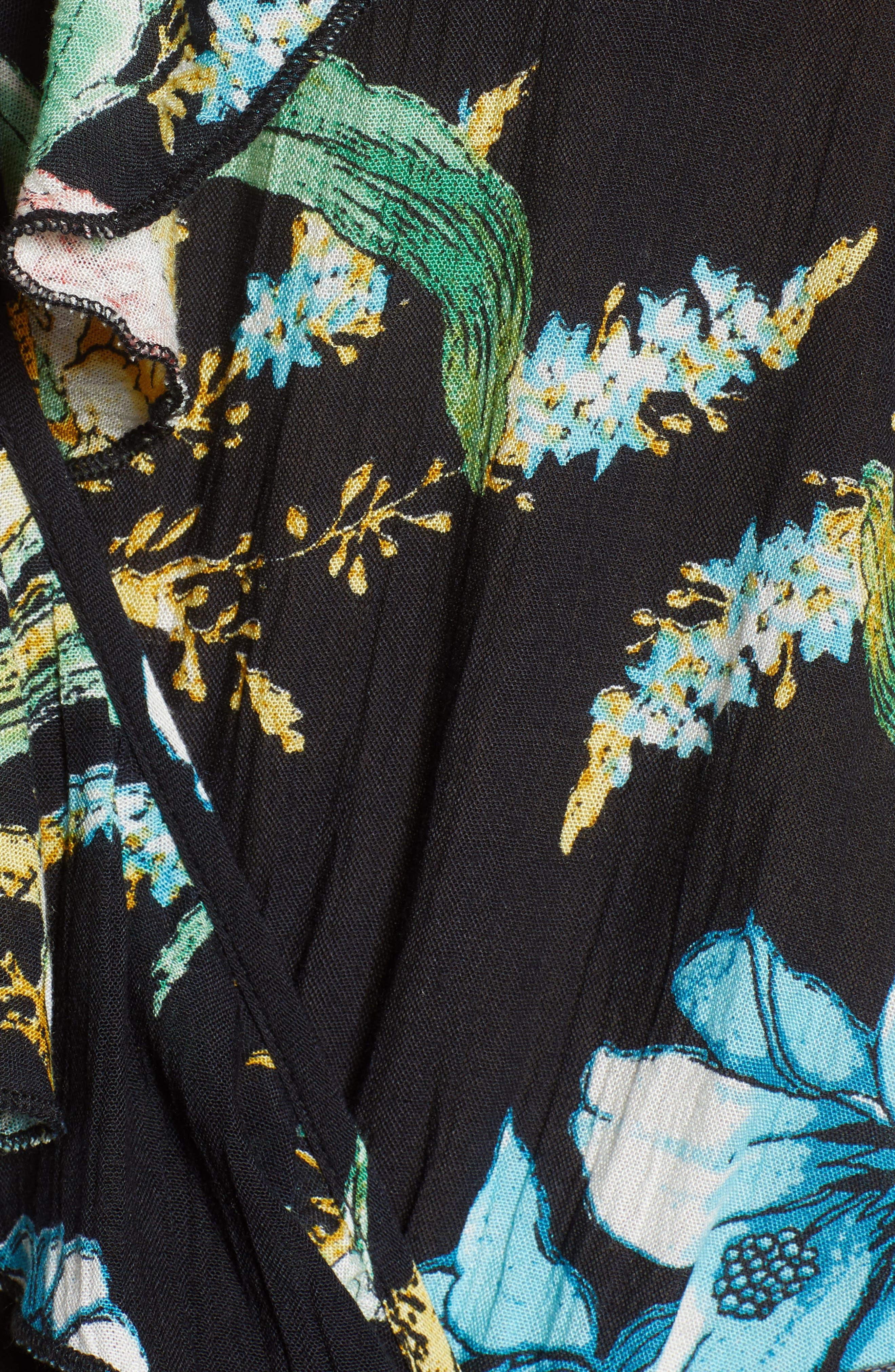 Tropical Print Halter Bodysuit,                             Alternate thumbnail 5, color,                             001