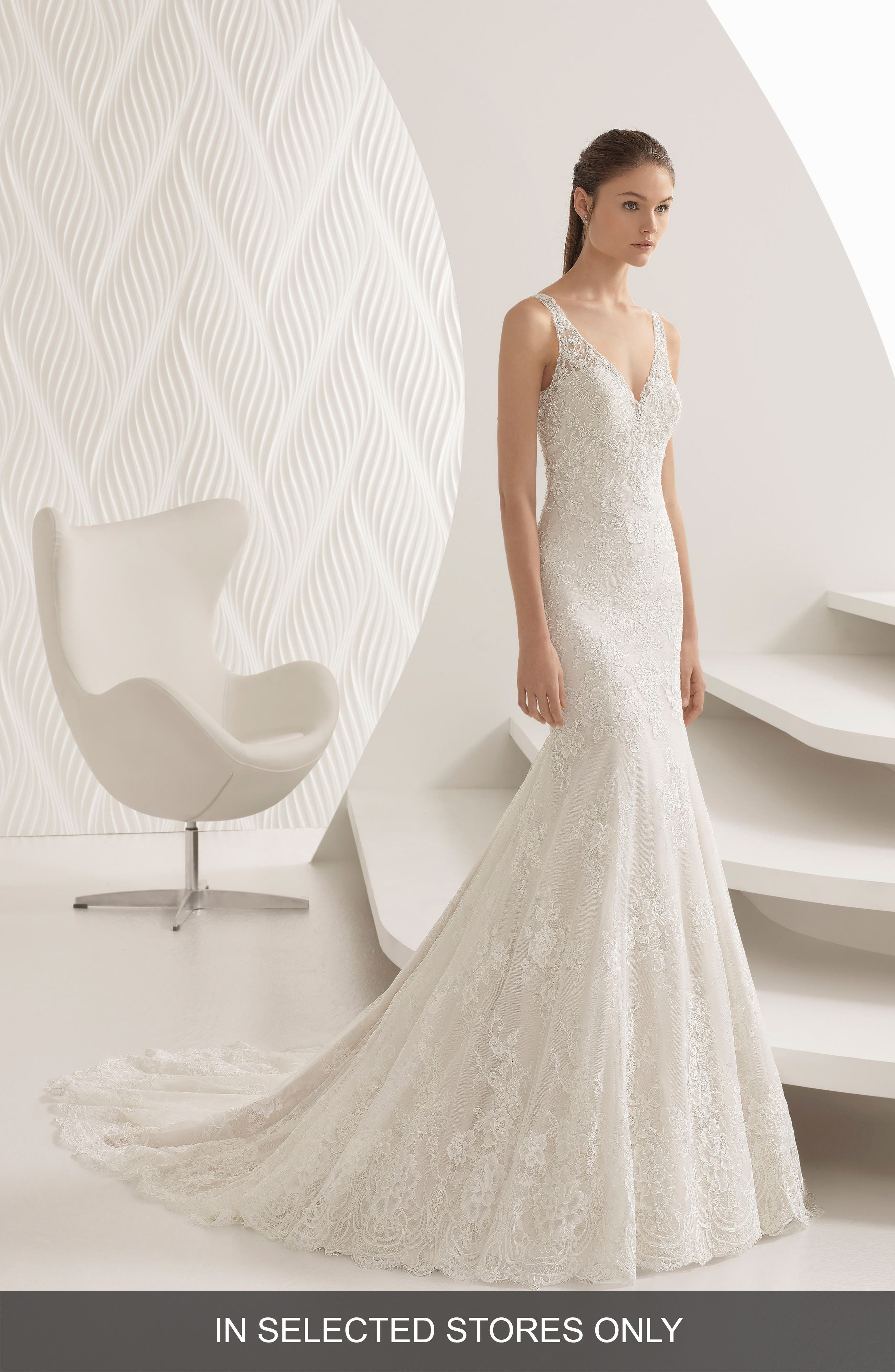Acuario Beaded Lace Trumpet Gown,                         Main,                         color,