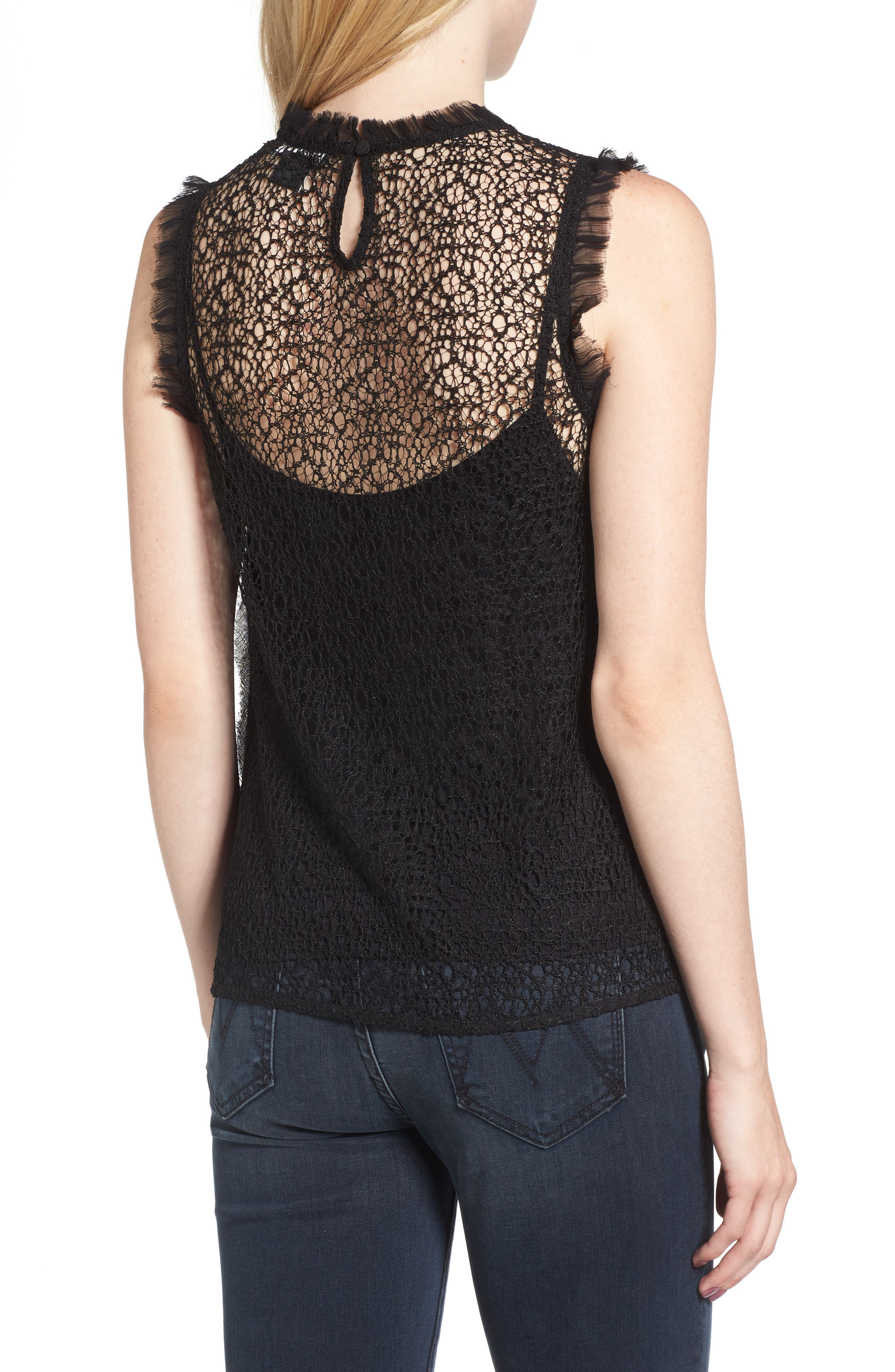 Trouvé Chiffon & Lace Top,                             Alternate thumbnail 2, color,
