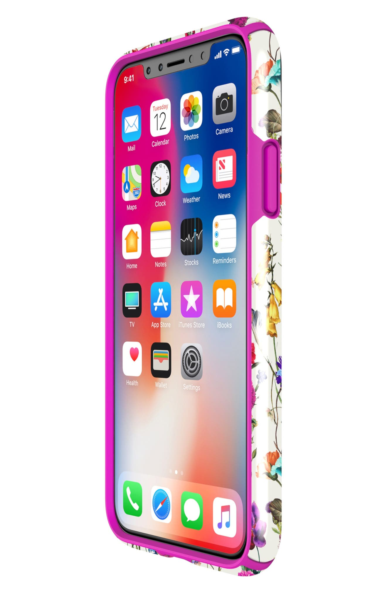 Presidio Inked iPhone X & Xs Case,                             Alternate thumbnail 6, color,                             WHITEFLOWERS/ LIPSTICK PINK