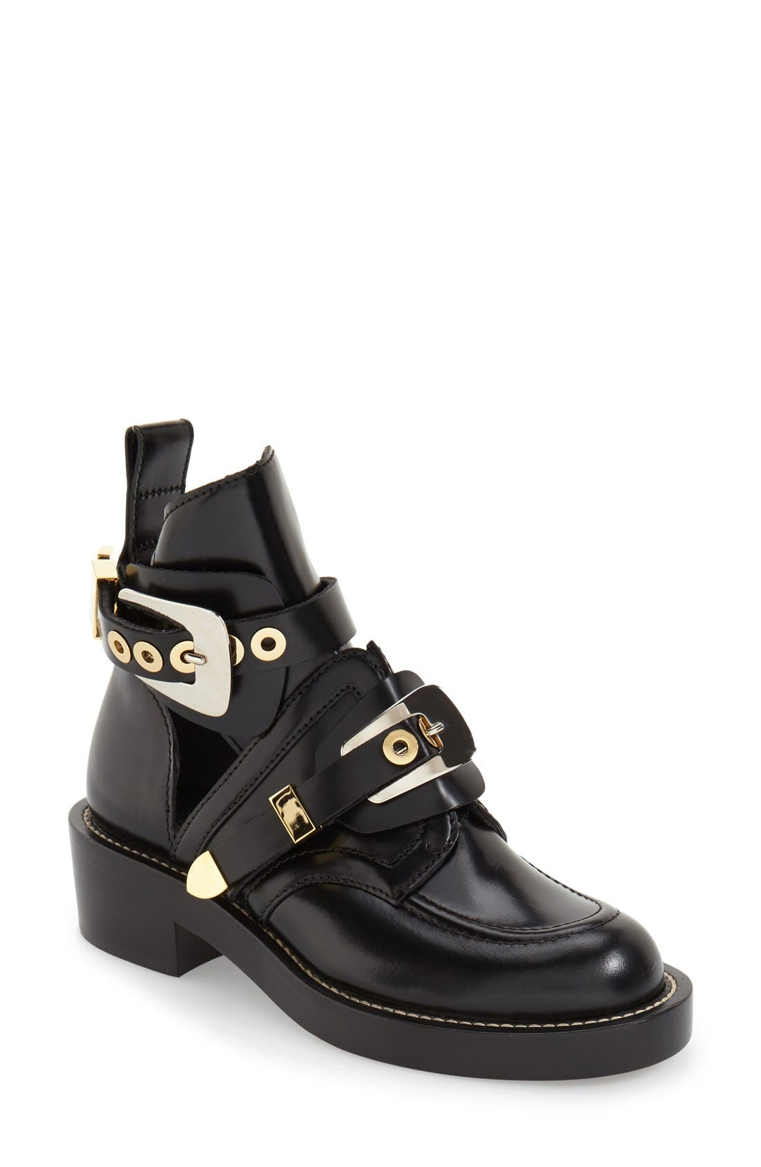 Cutout Buckle Boot,                         Main,                         color, BLACK