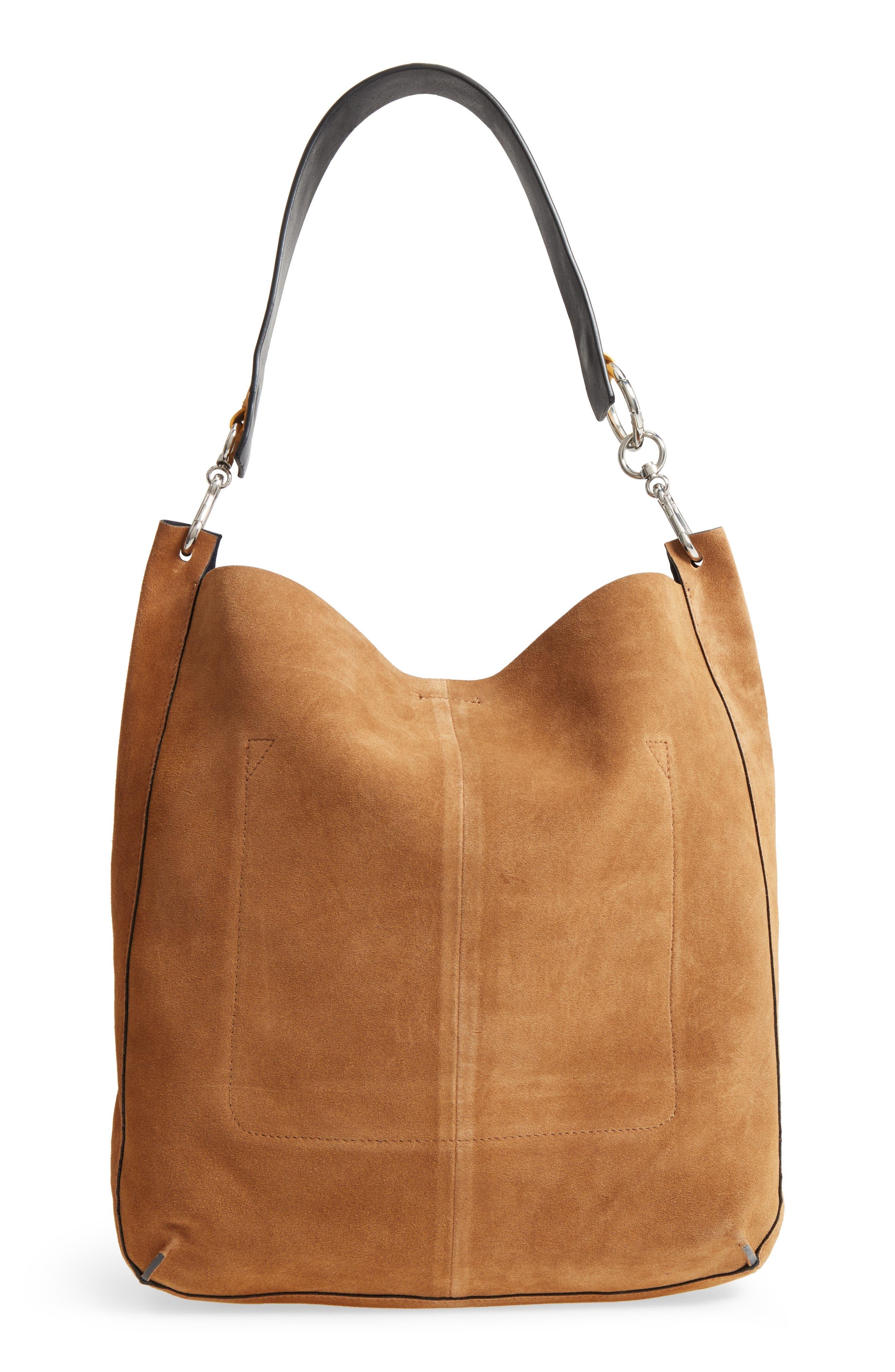 Asymmetric Suede Hobo Bag,                             Alternate thumbnail 6, color,