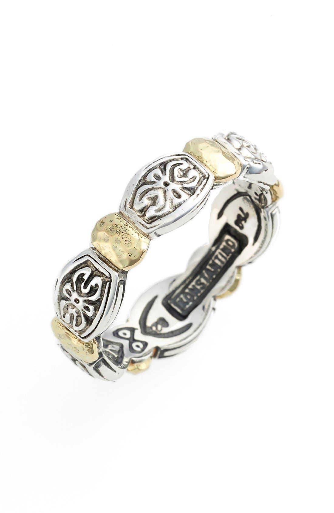 'Aspasia' Hammered Band Ring,                             Main thumbnail 1, color,                             SILVER/ GOLD