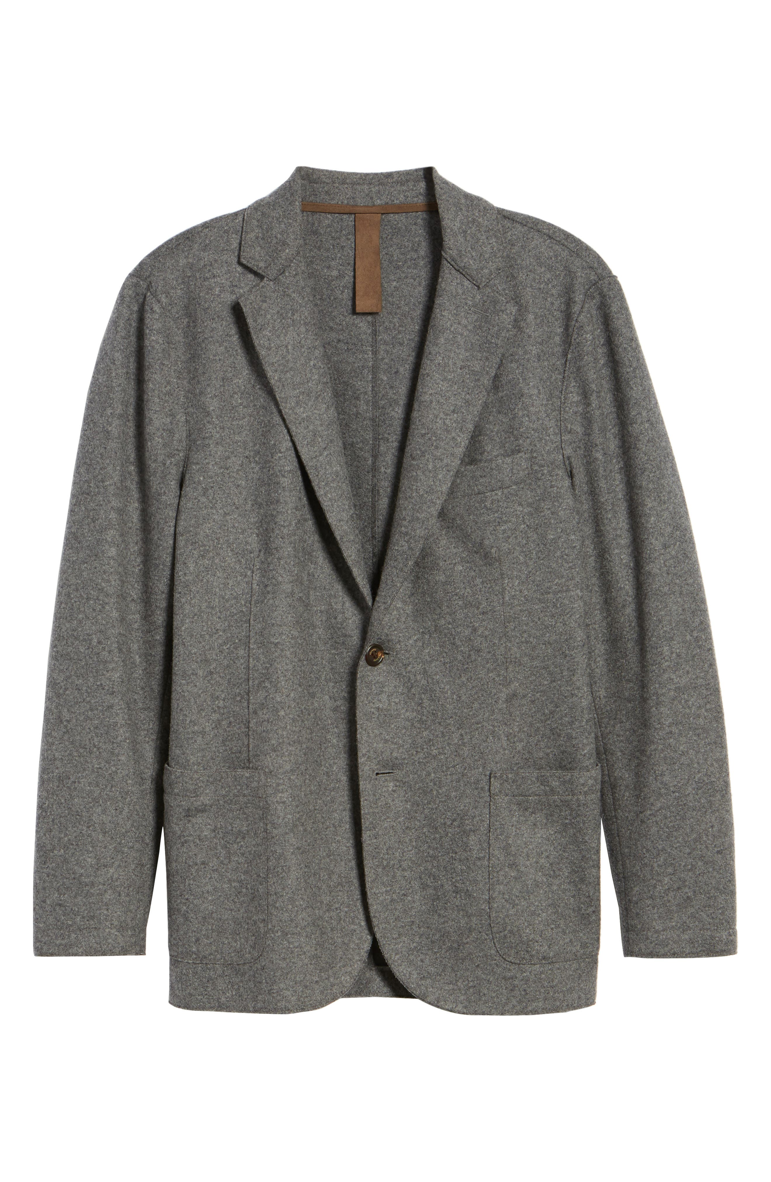 Wool Blend Blazer,                             Alternate thumbnail 5, color,                             SMOKE GREY MELANGE