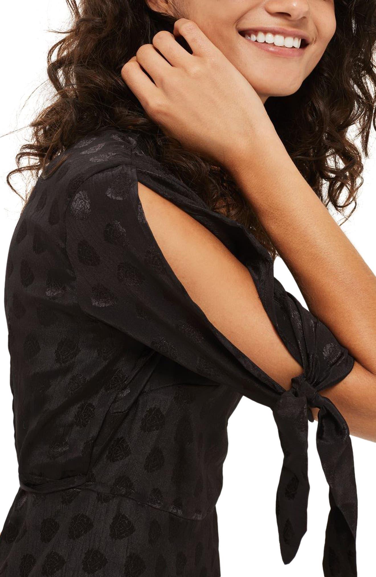 Jacquard Wrap Midi Dress,                             Alternate thumbnail 3, color,                             001