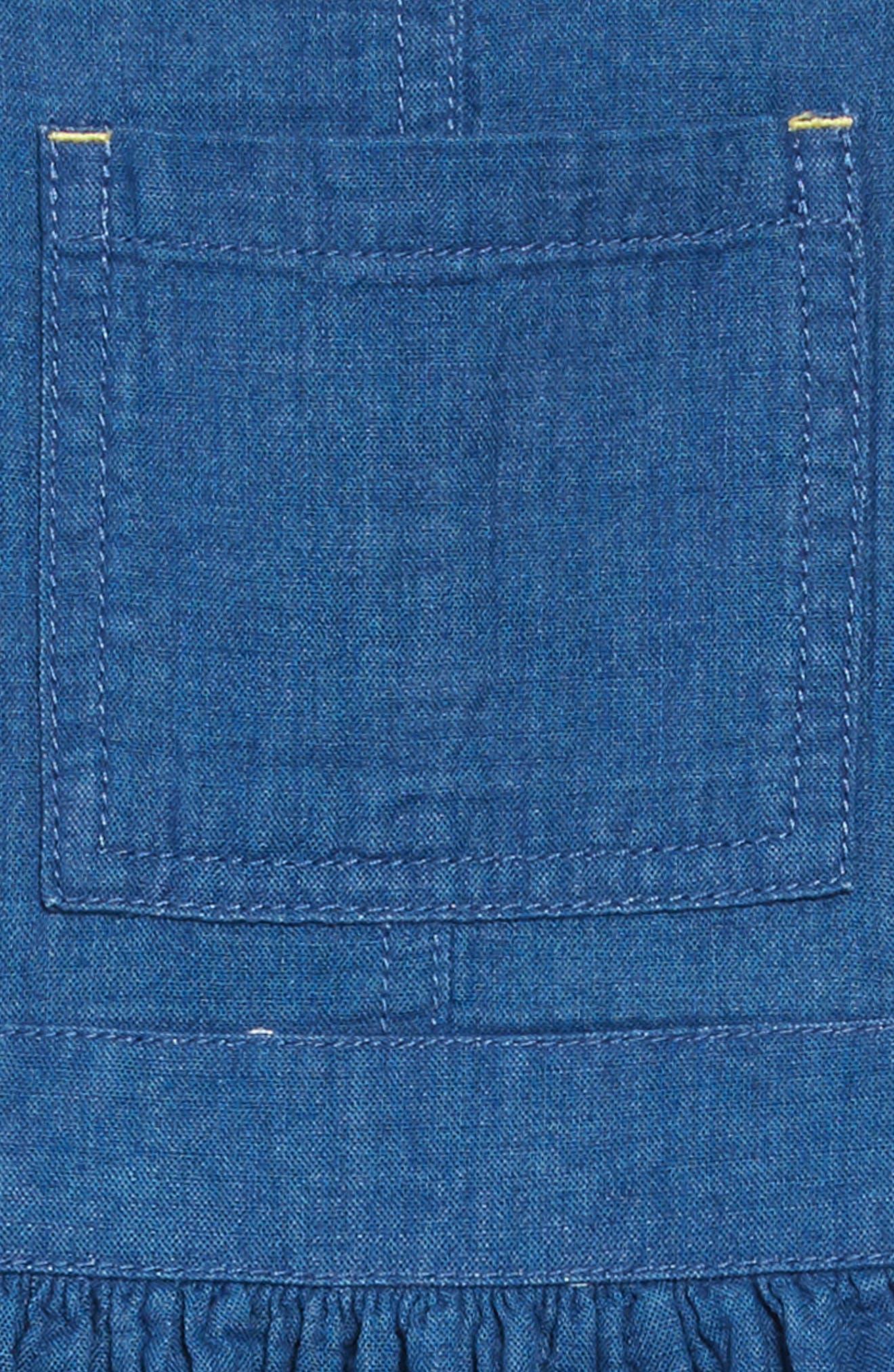 Dungaree Overall Dress,                             Alternate thumbnail 3, color,                             INDIGO BLUE