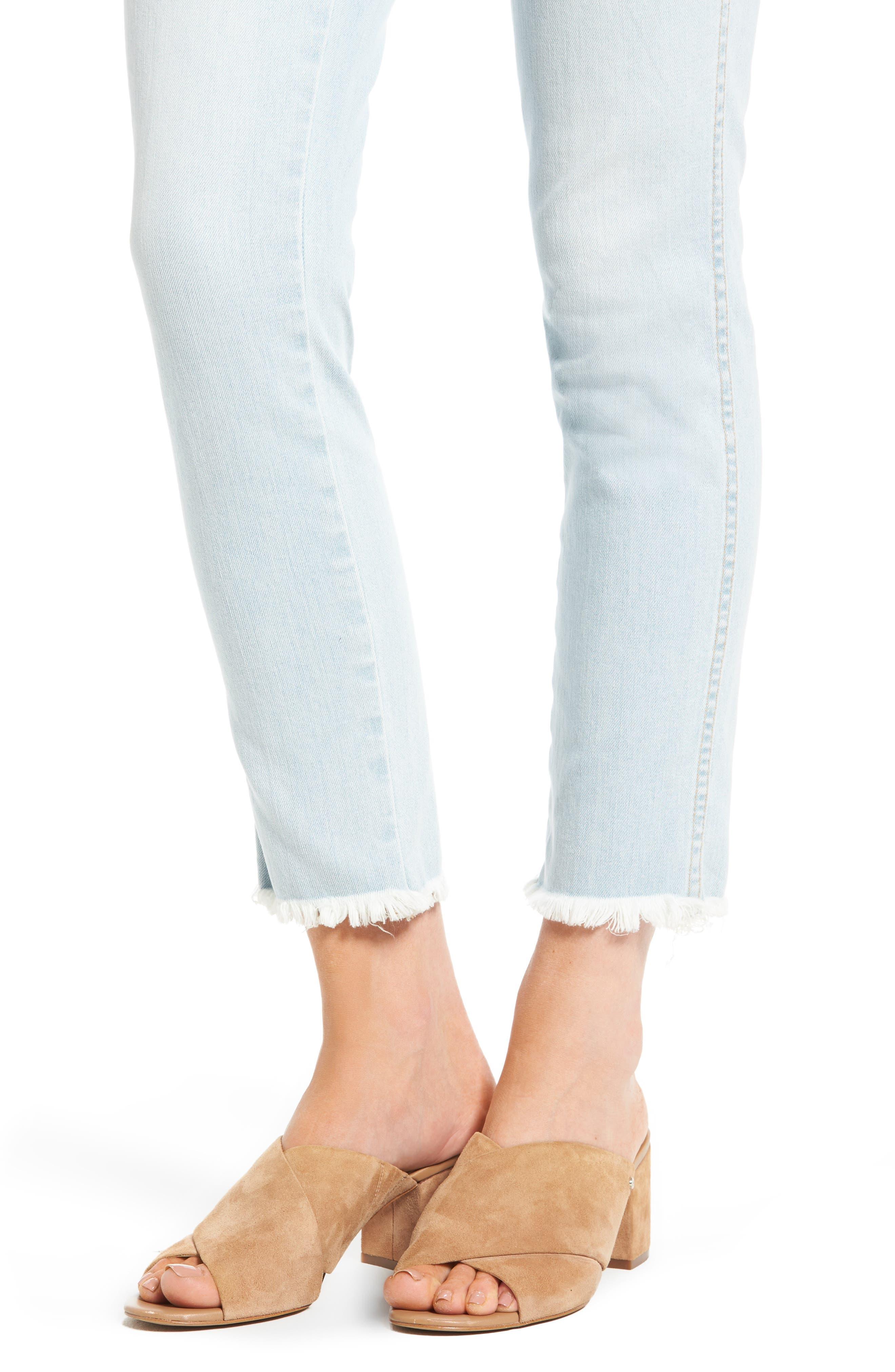 High Waist Crop Slim Jeans,                             Alternate thumbnail 4, color,