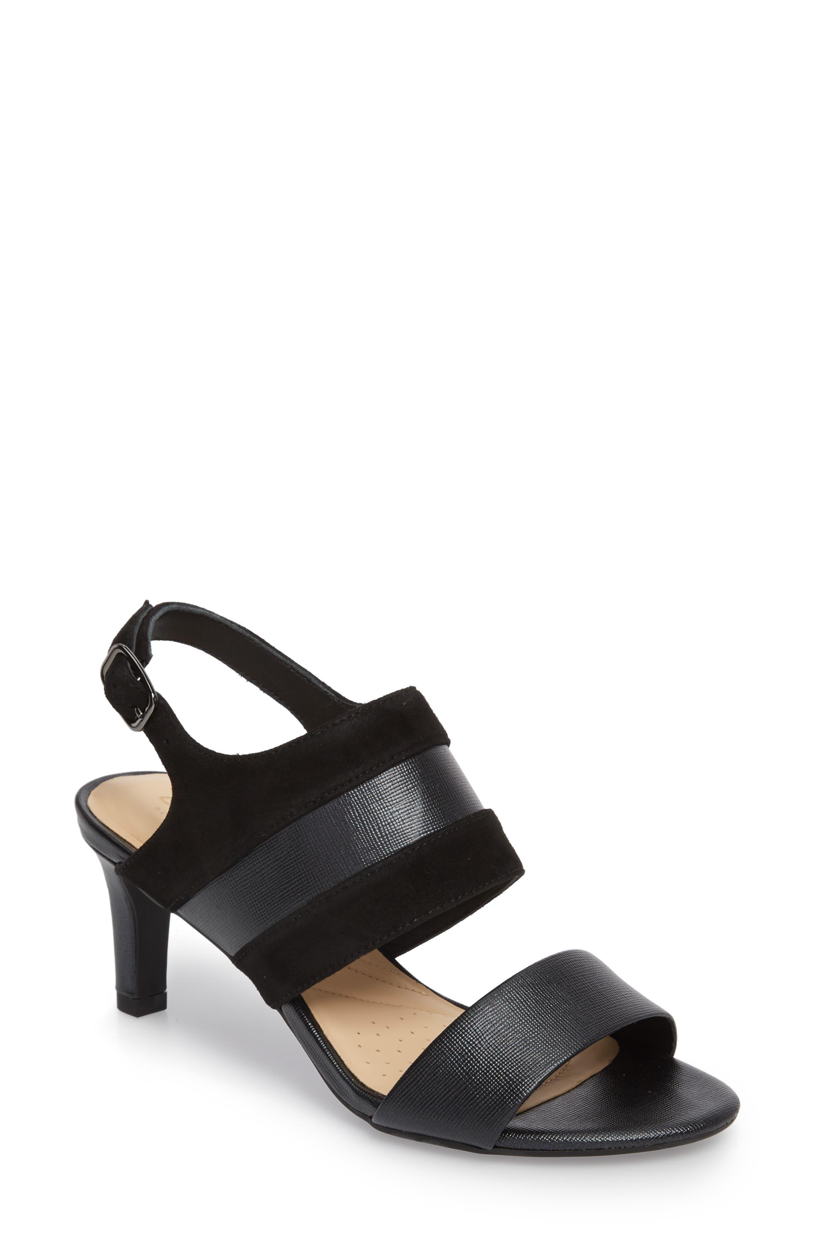 Laureti Joy Slingback Sandal,                         Main,                         color, BLACK COMBI SUEDE