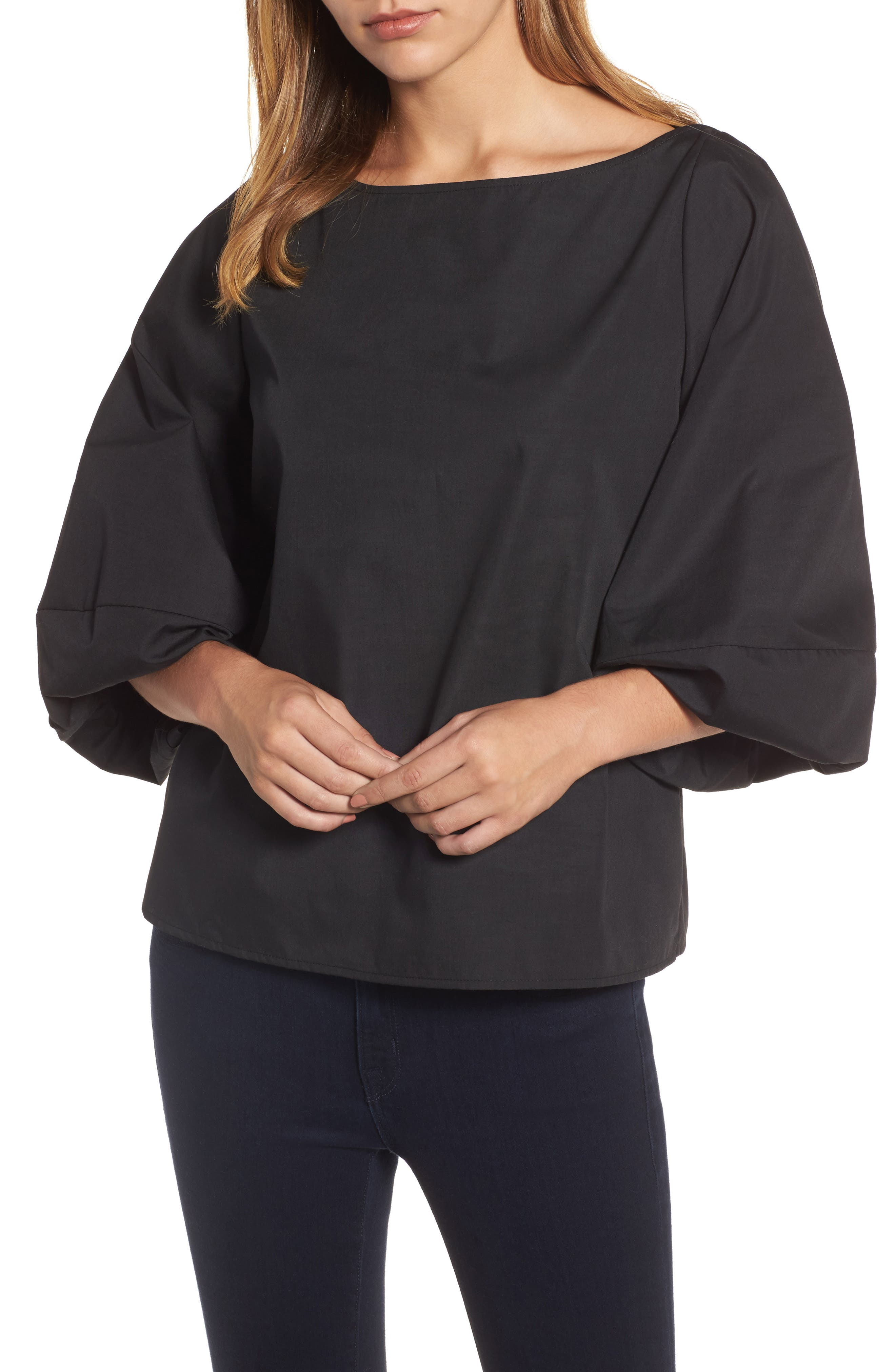 Blouson Bell Sleeve Top,                         Main,                         color, 001