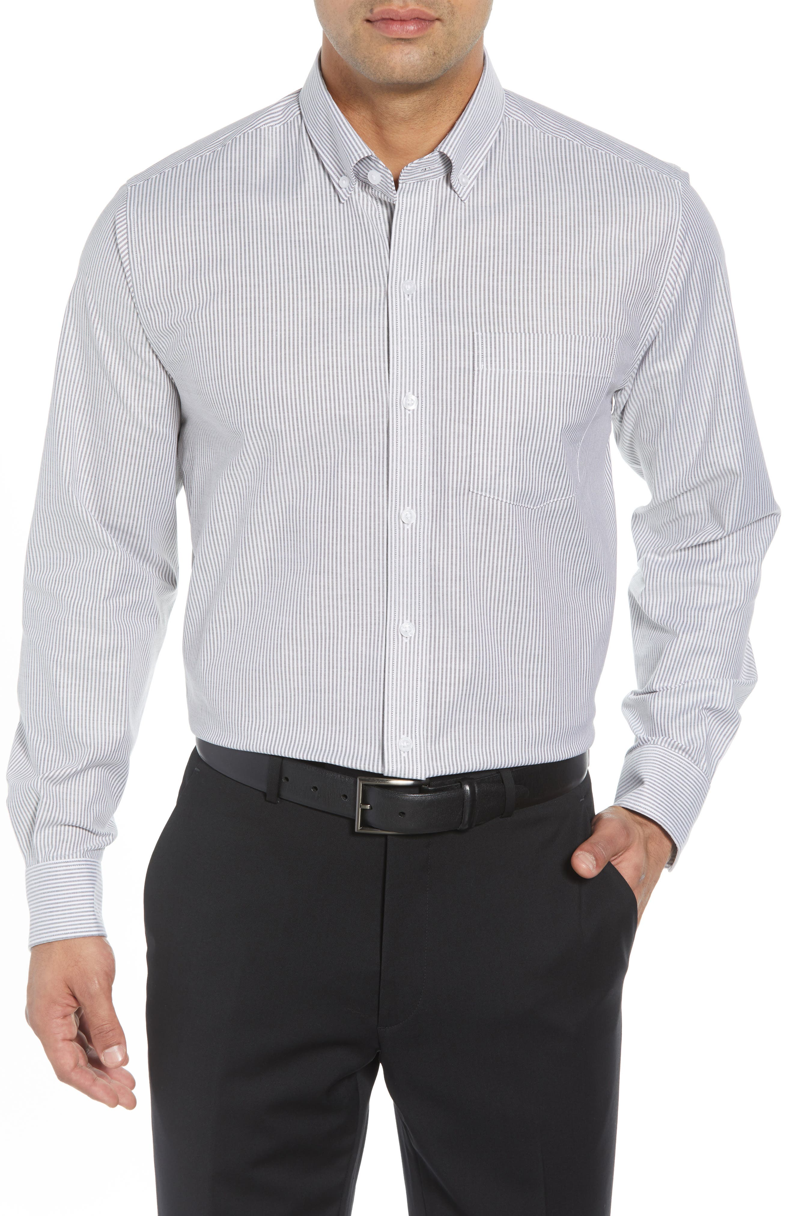 Regular Fit Stripe Stretch Oxford Shirt,                         Main,                         color, CHARCOAL