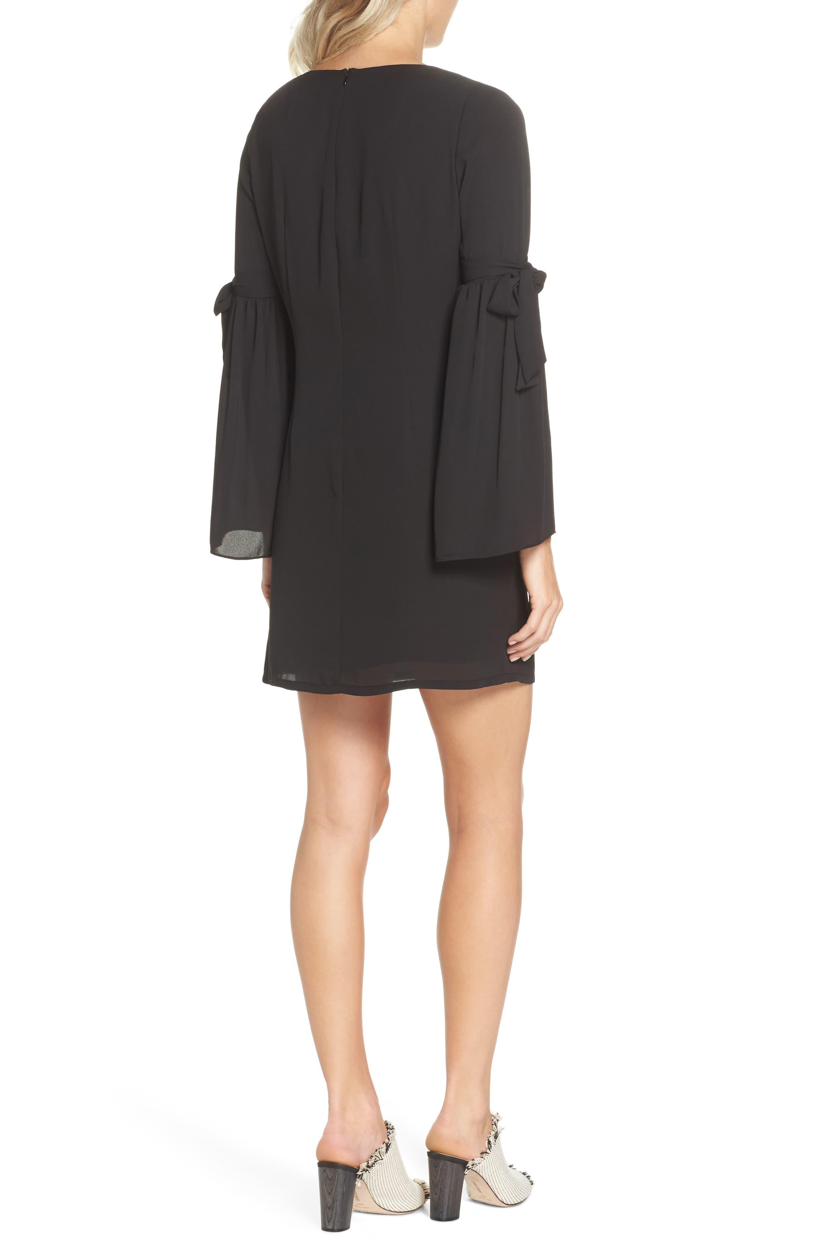 Bell Sleeve Dress,                             Alternate thumbnail 2, color,                             BLACK