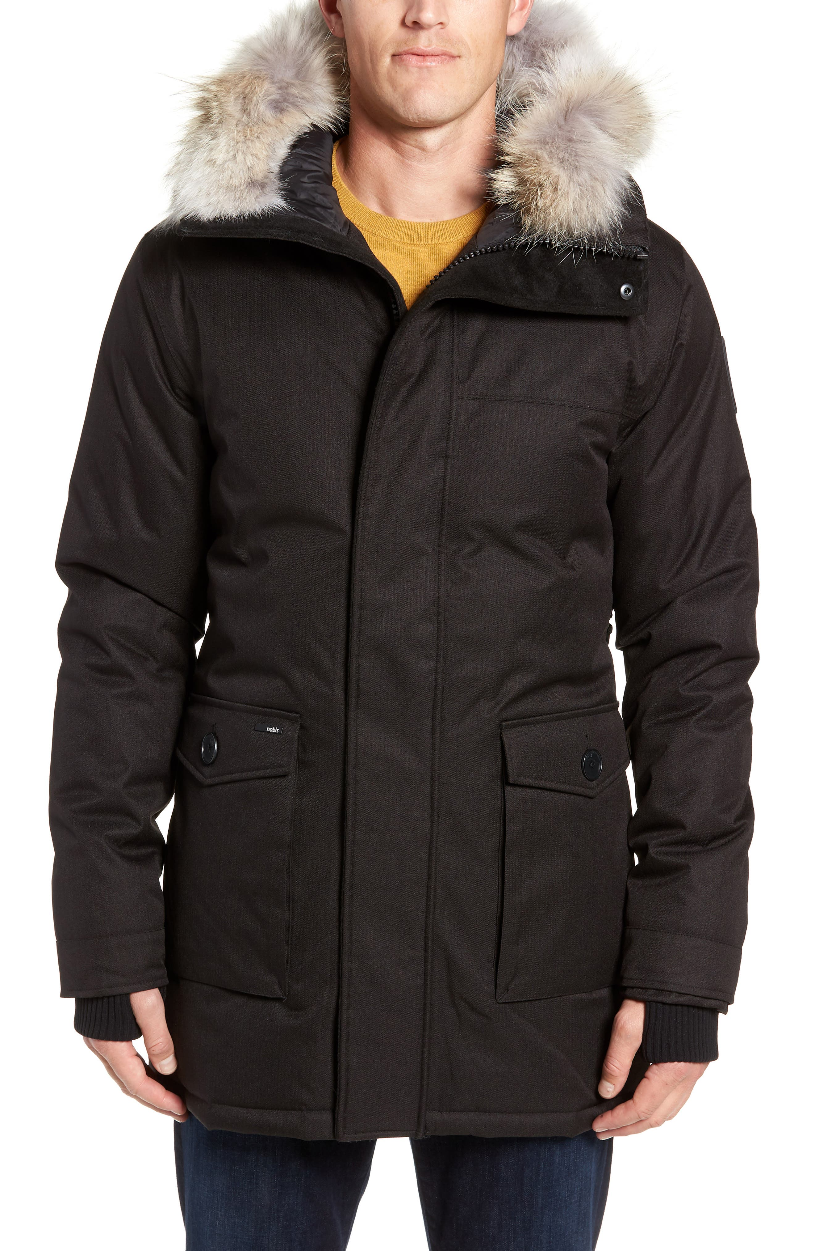 Yves Windproof & Waterproof 650 Fill Power Down Parka with Genuine Coyote Fur Trim,                             Alternate thumbnail 6, color,                             BLACK