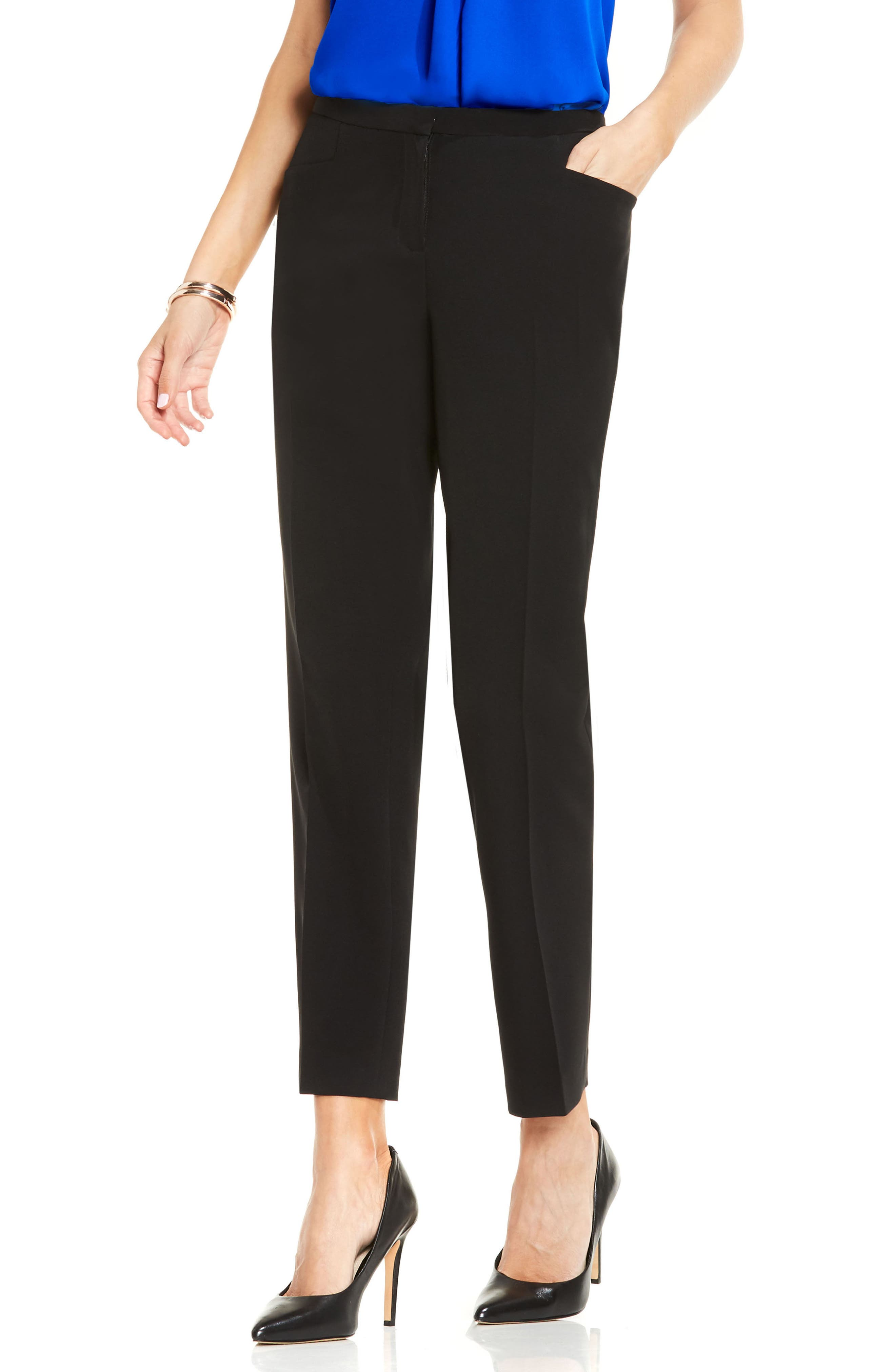 Stretch Twill Ankle Pants,                         Main,                         color, RICH BLACK