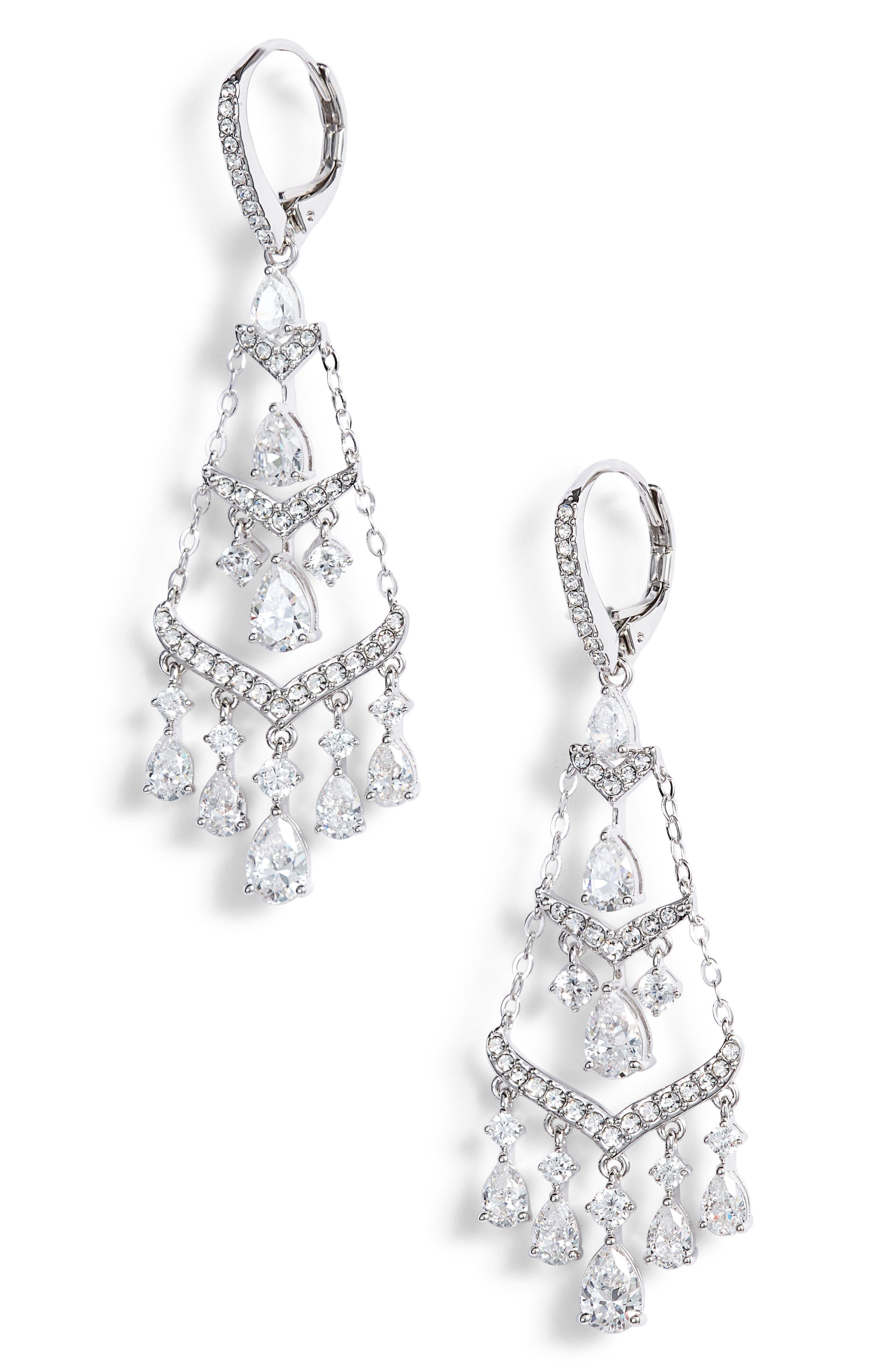 Chandelier Earrings,                             Main thumbnail 1, color,                             SILVER
